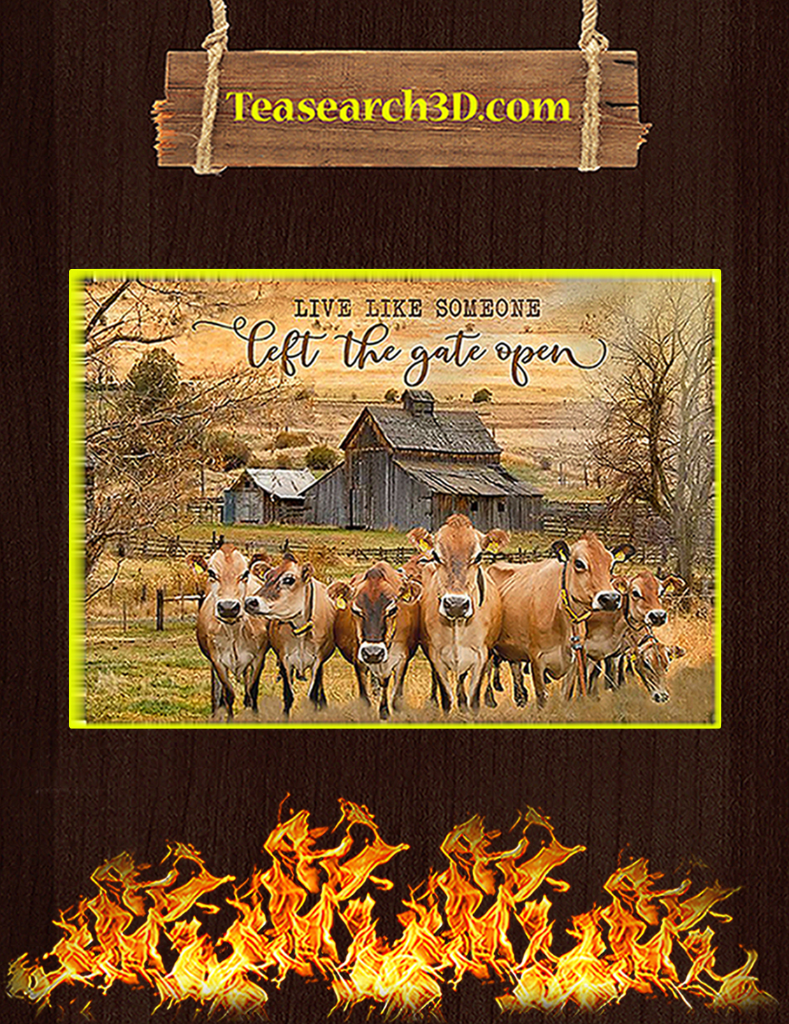 Jersey cattle live like somwone let the gate open poster A3