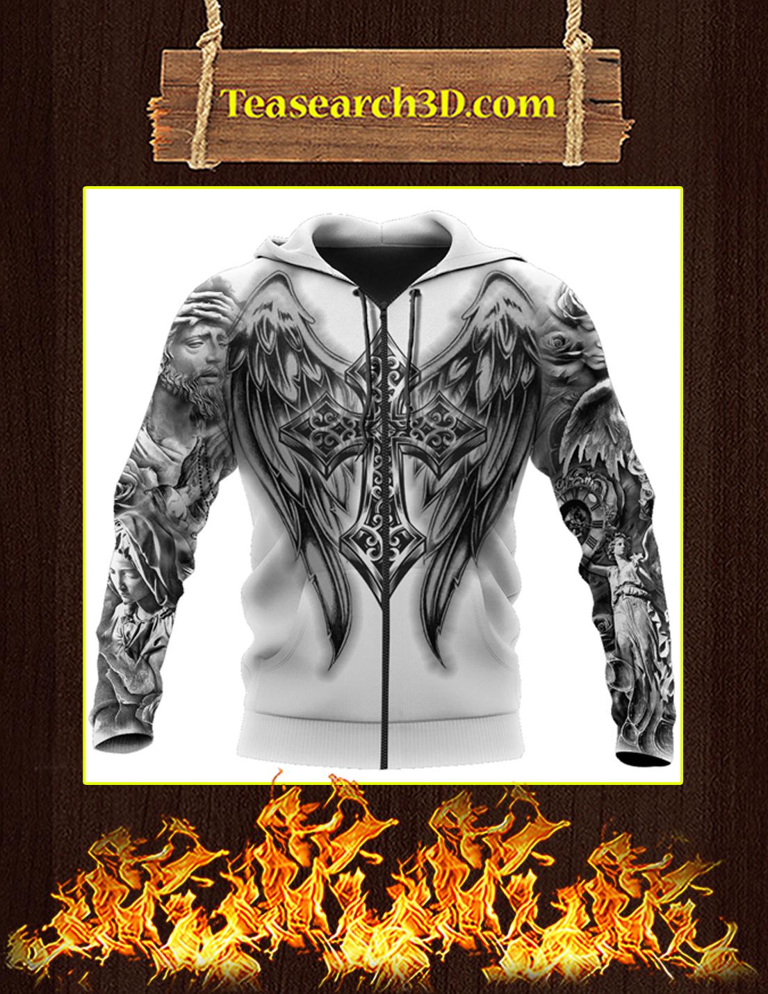 Jesus Tattoo 3D All Over Printe Zip Hoodie