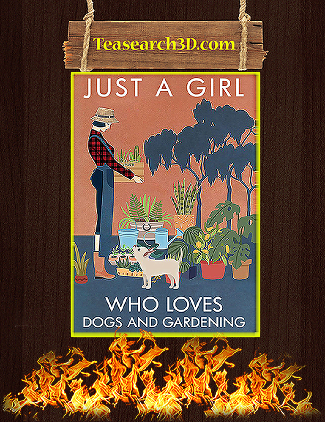 Just a girl who love dogs and gardening poster A2