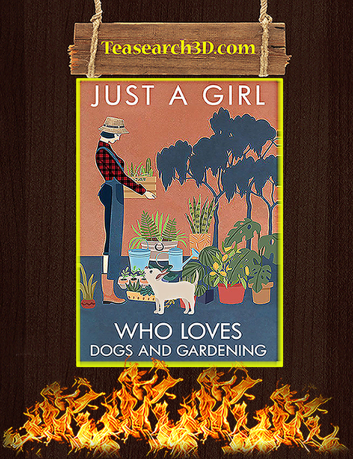 Just a girl who love dogs and gardening poster A3