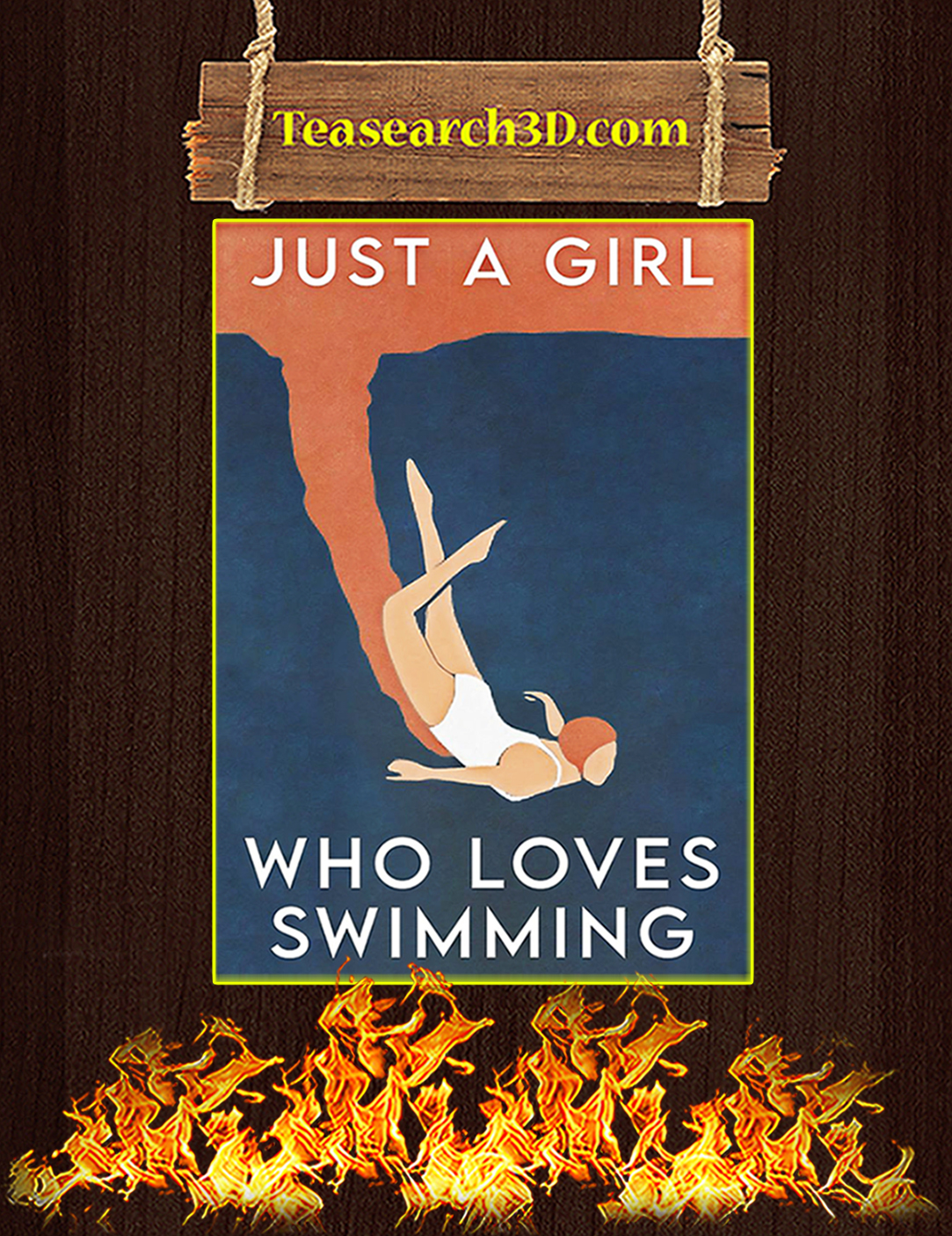 Swimming Just a girl who loves poster A2