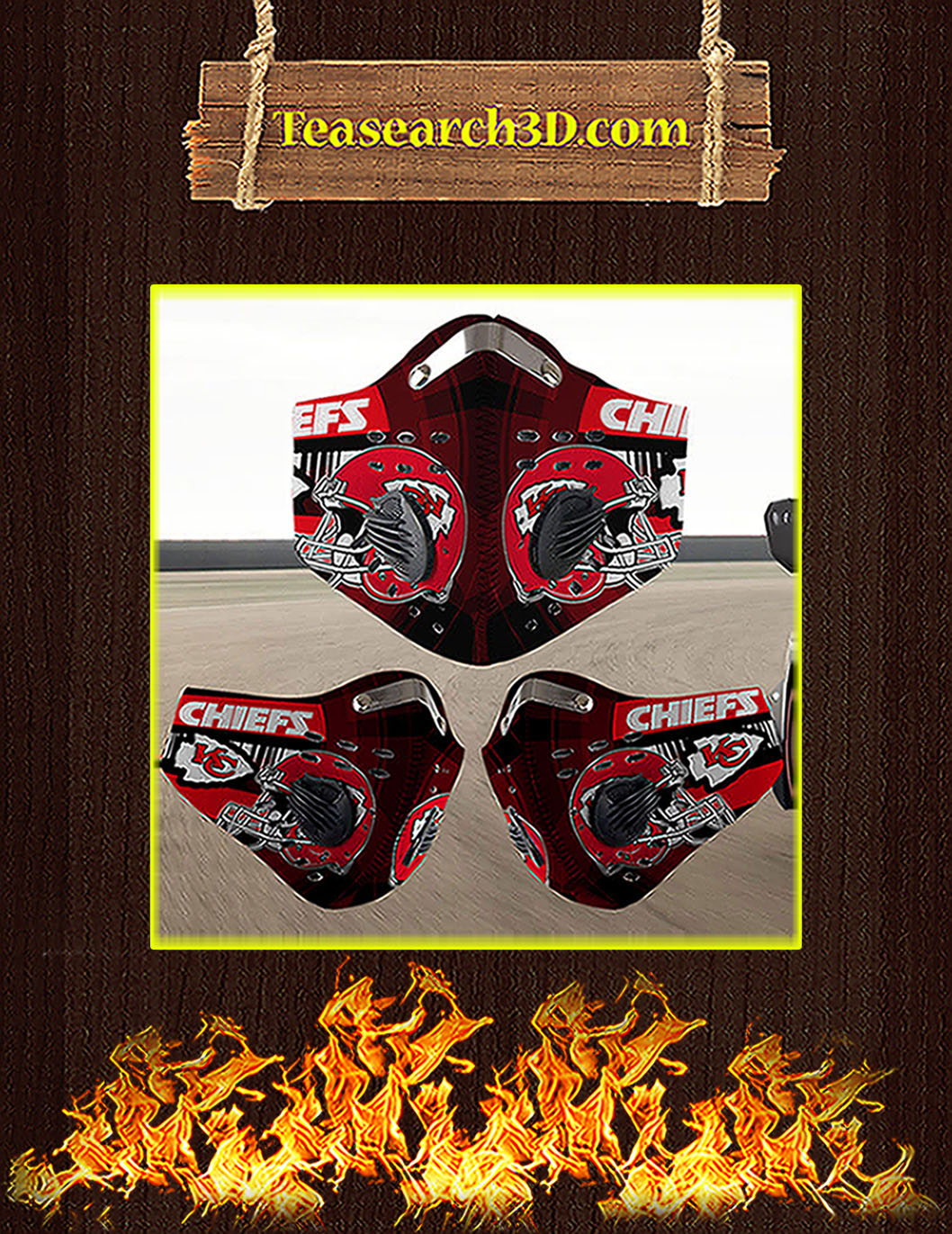 Kansas City Chiefs filter face mask pack 3