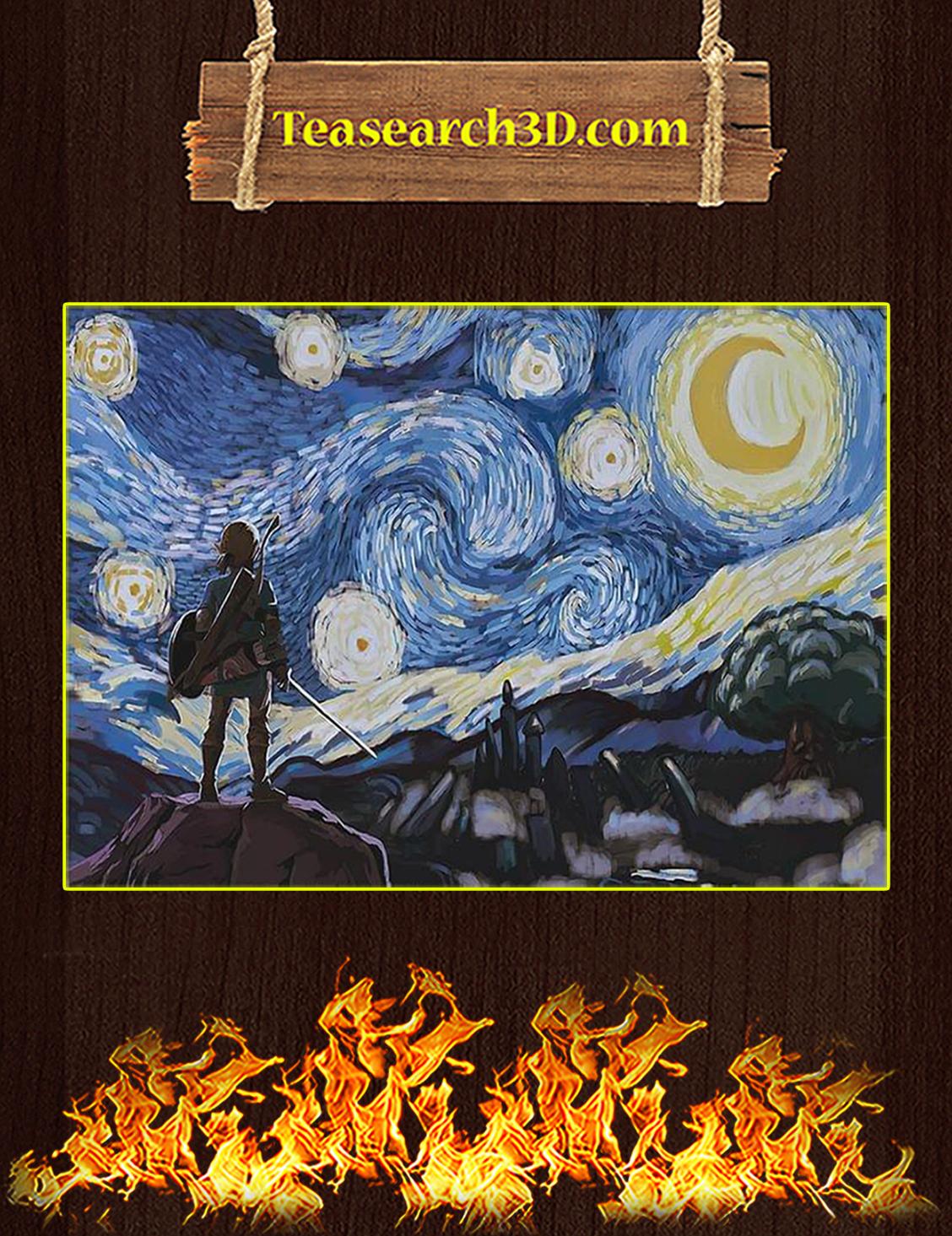 Legend of Zelda starry night van gogh poster A3