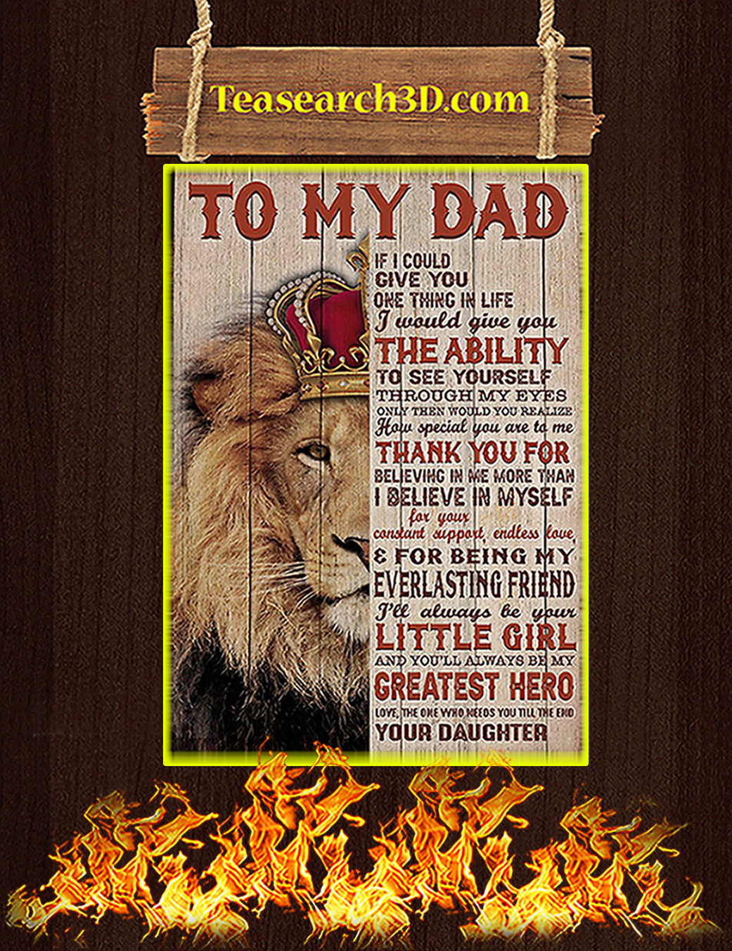 Lion To my dad your daughter poster A1