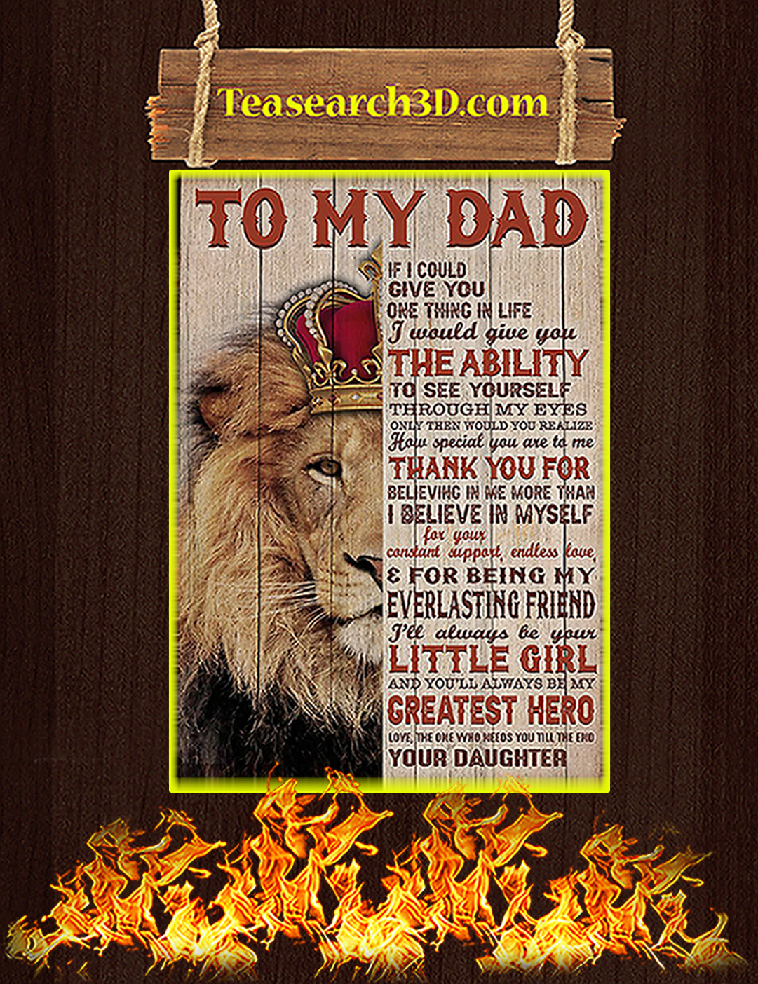 Lion To my dad your daughter poster A2
