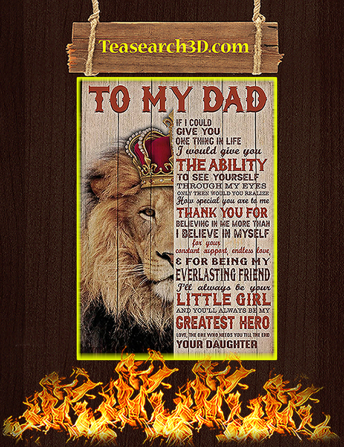Lion To my dad your daughter poster A3