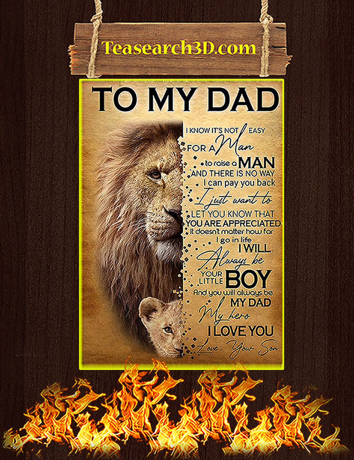 Lion To my dad your son poster A3