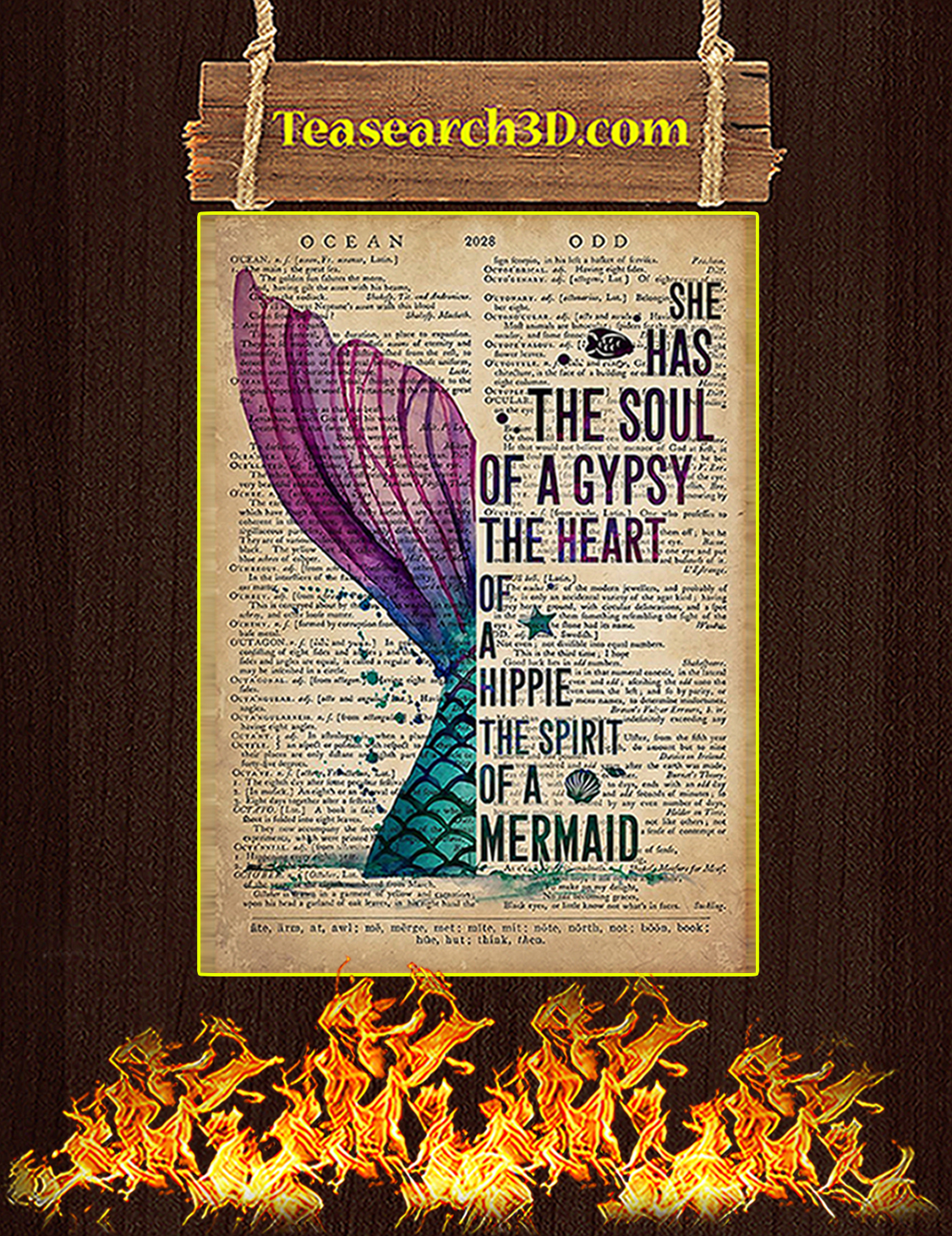 Mermaid She has the soul of a gypsy poster A3