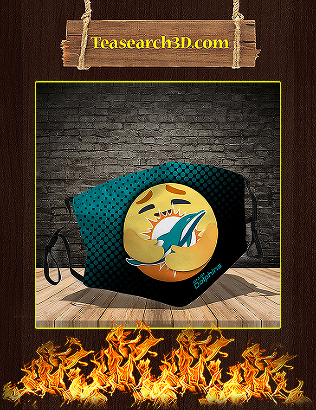 Miami Dolphins care emoji face mask pack 10
