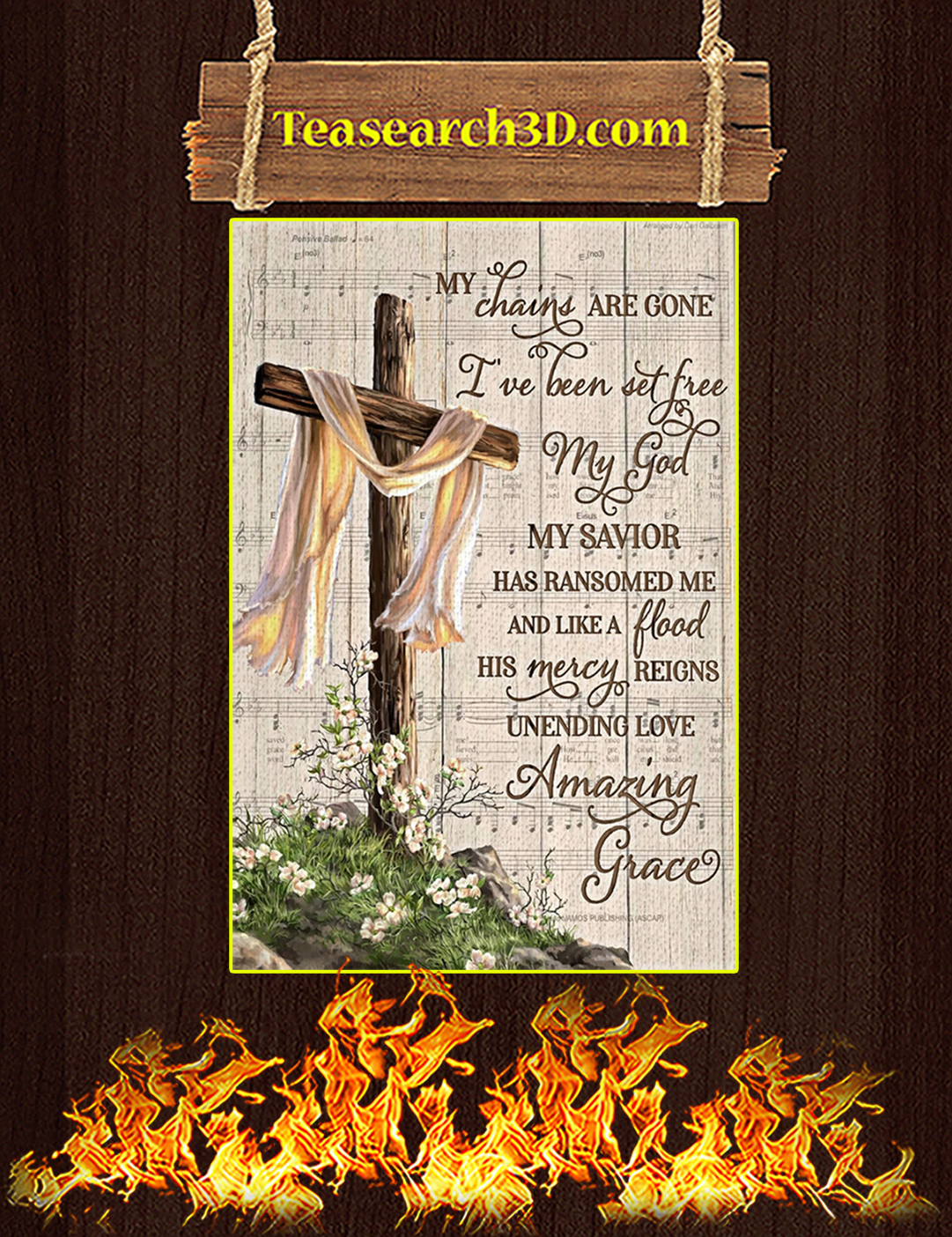 My chains are gone amazing grace canvas prints medium
