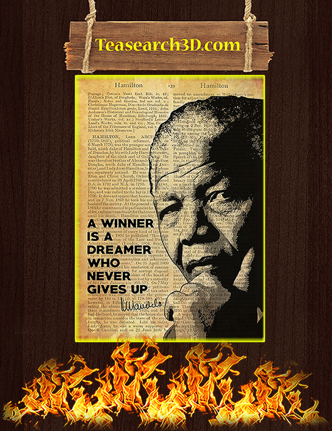 Nelson Mandela A winner is a dreamer who never gives up poster A3