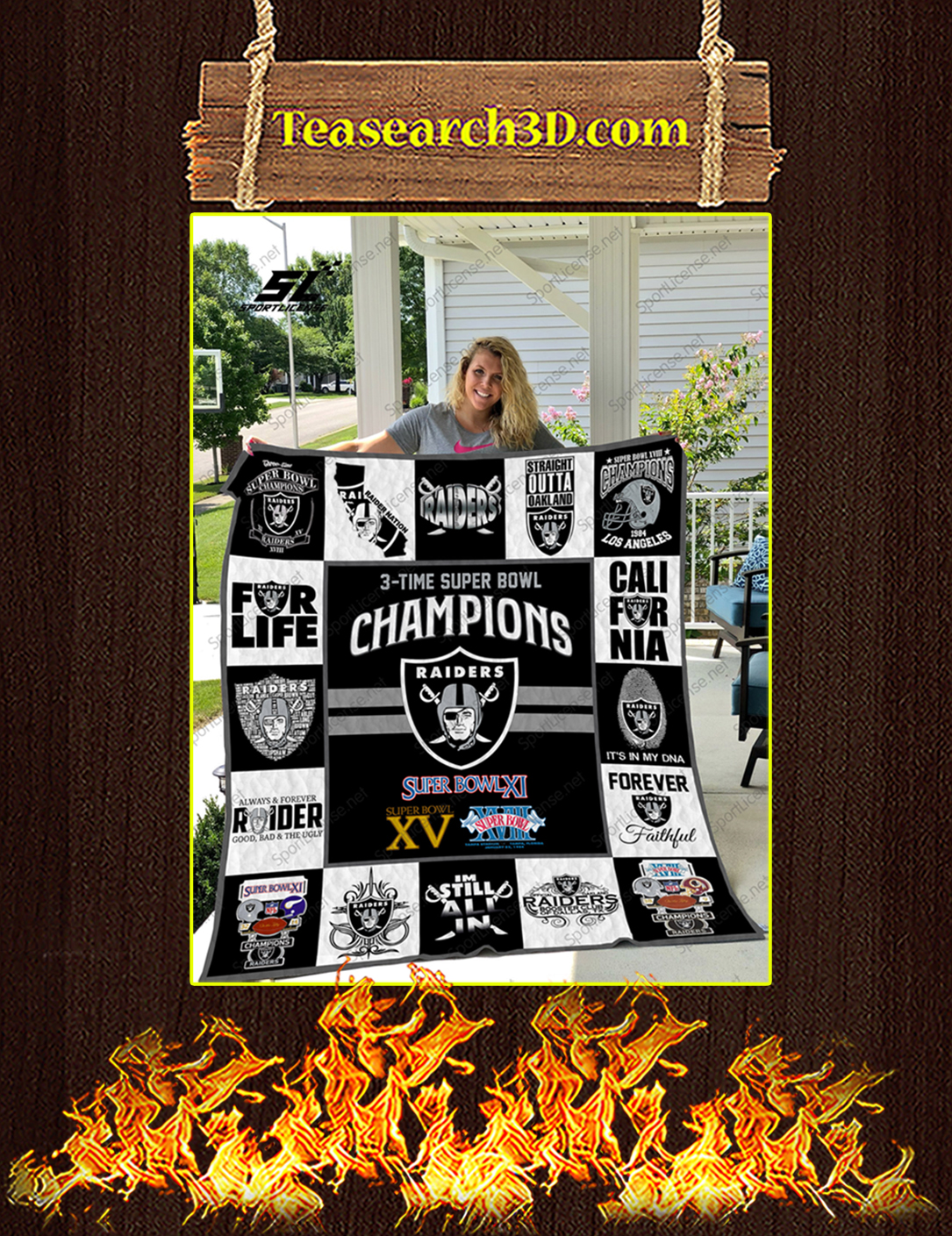 Oakland Raiders champions quilt blanket king