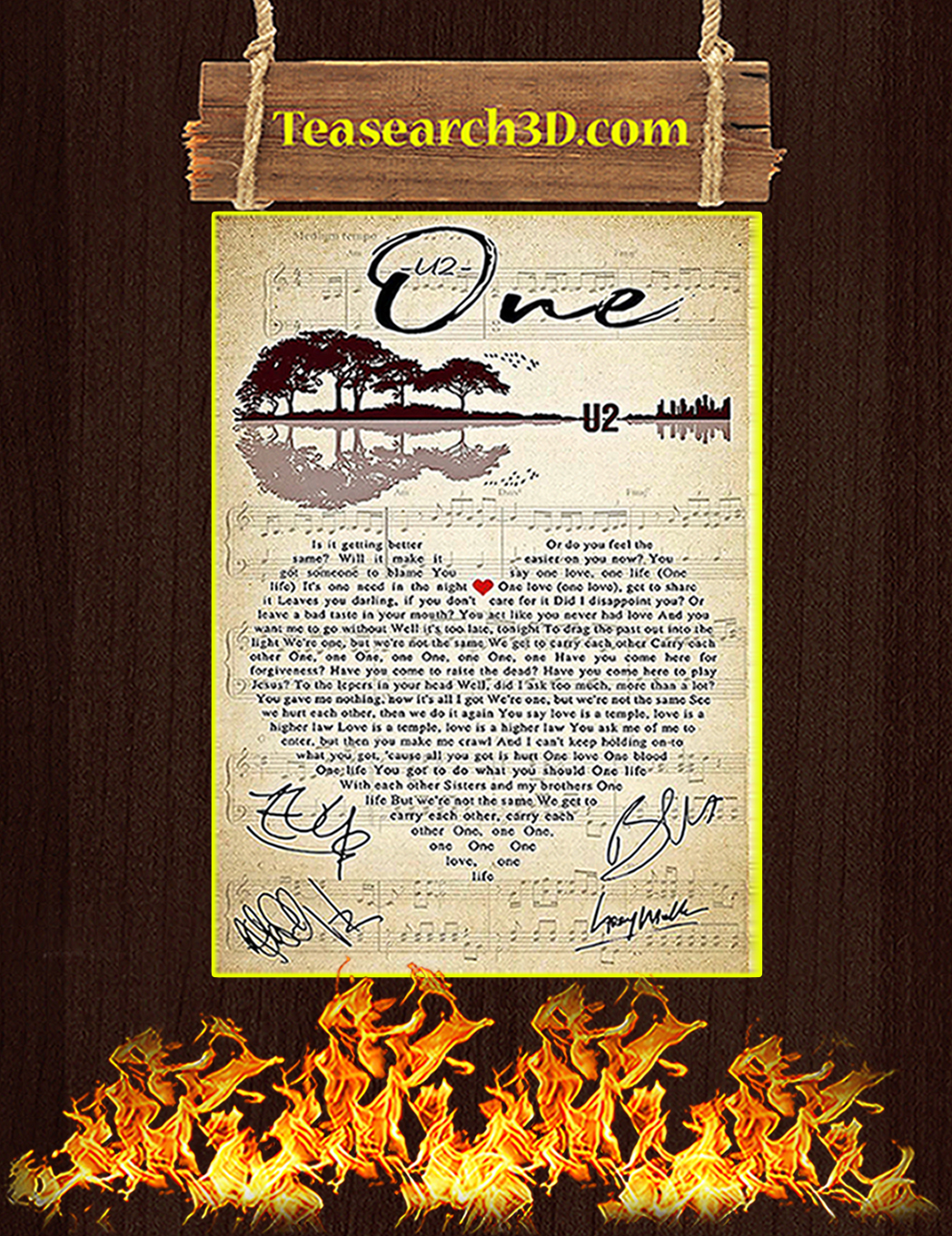 One U2 heart signature poster A1
