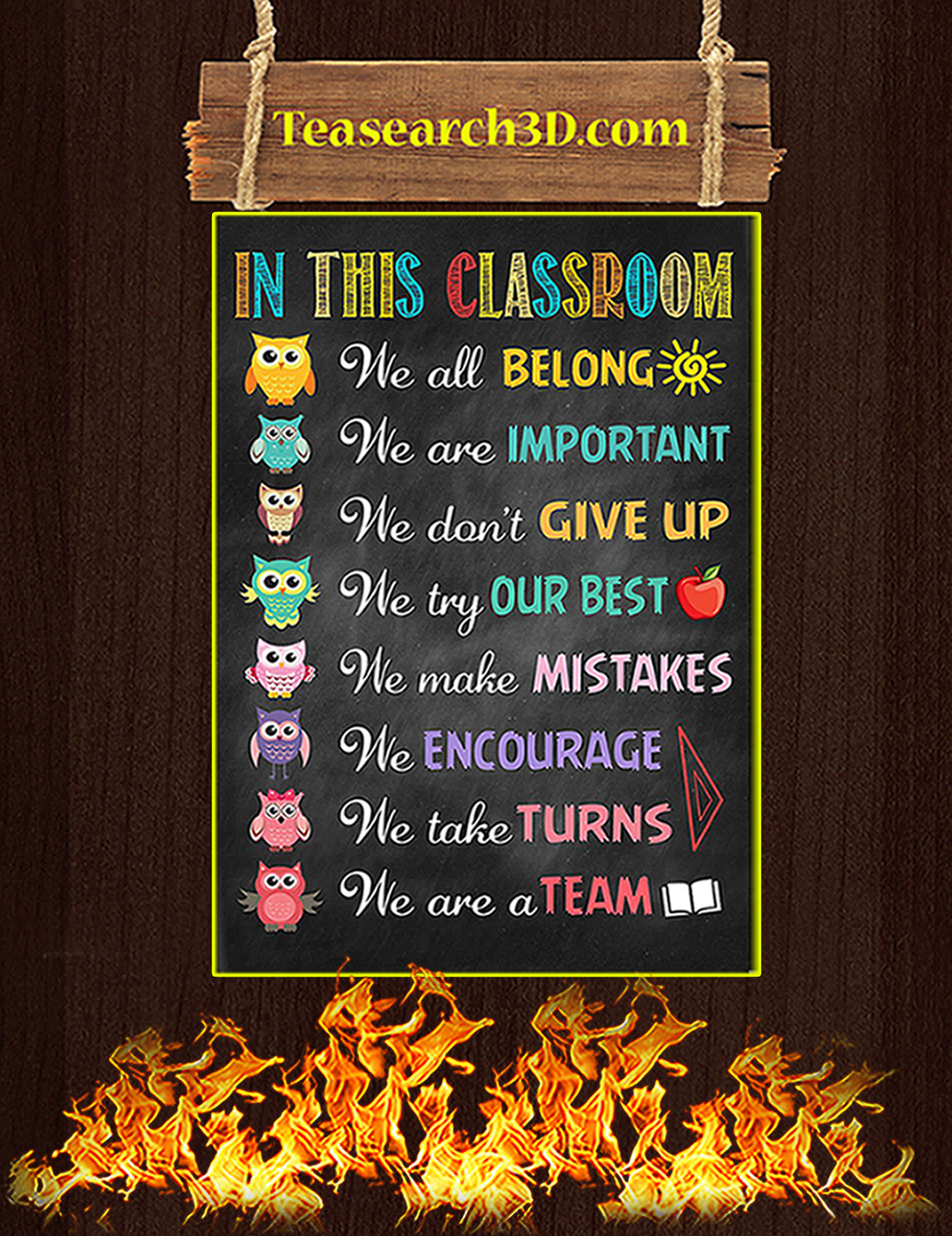 Owl teacher in this classroom poster A3