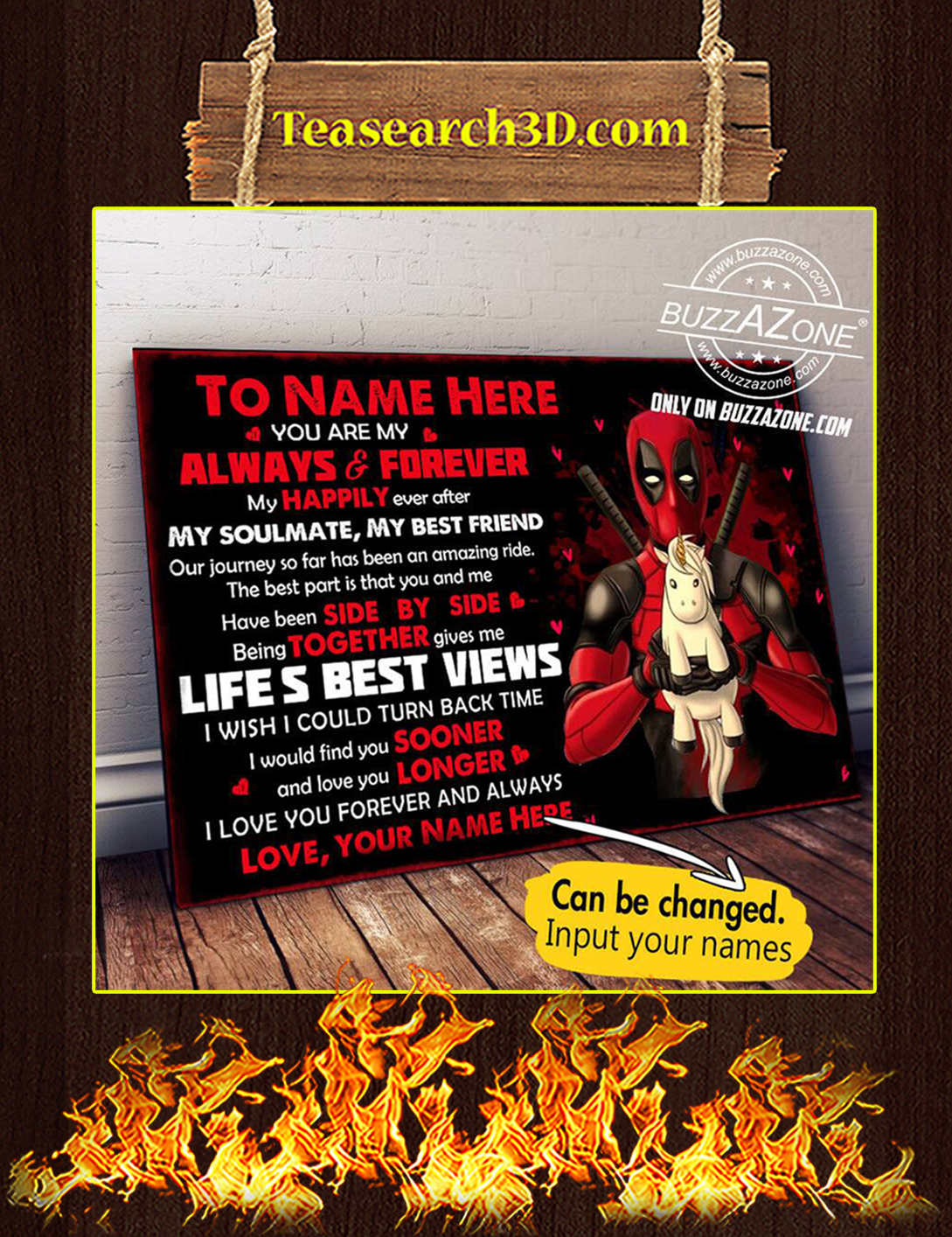 Personalize custom name To my love deadpool poster A2