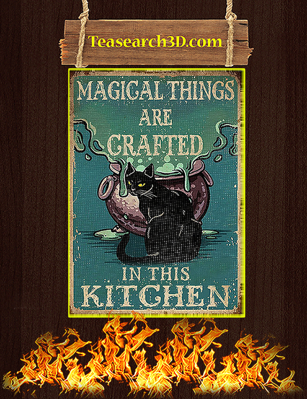 Retro black cat magical things are grafted in this kitchen poster A1