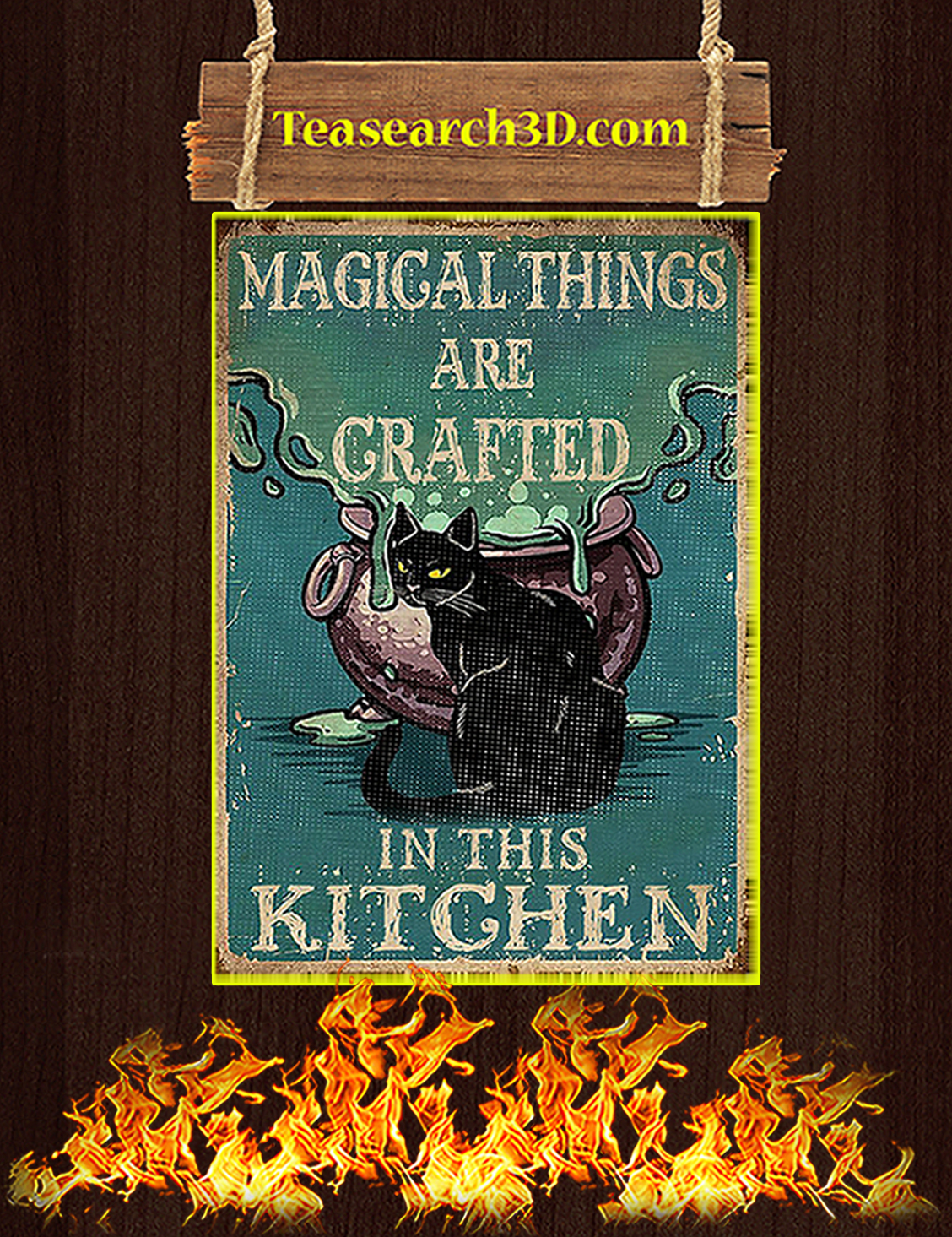 Retro black cat magical things are grafted in this kitchen poster A3