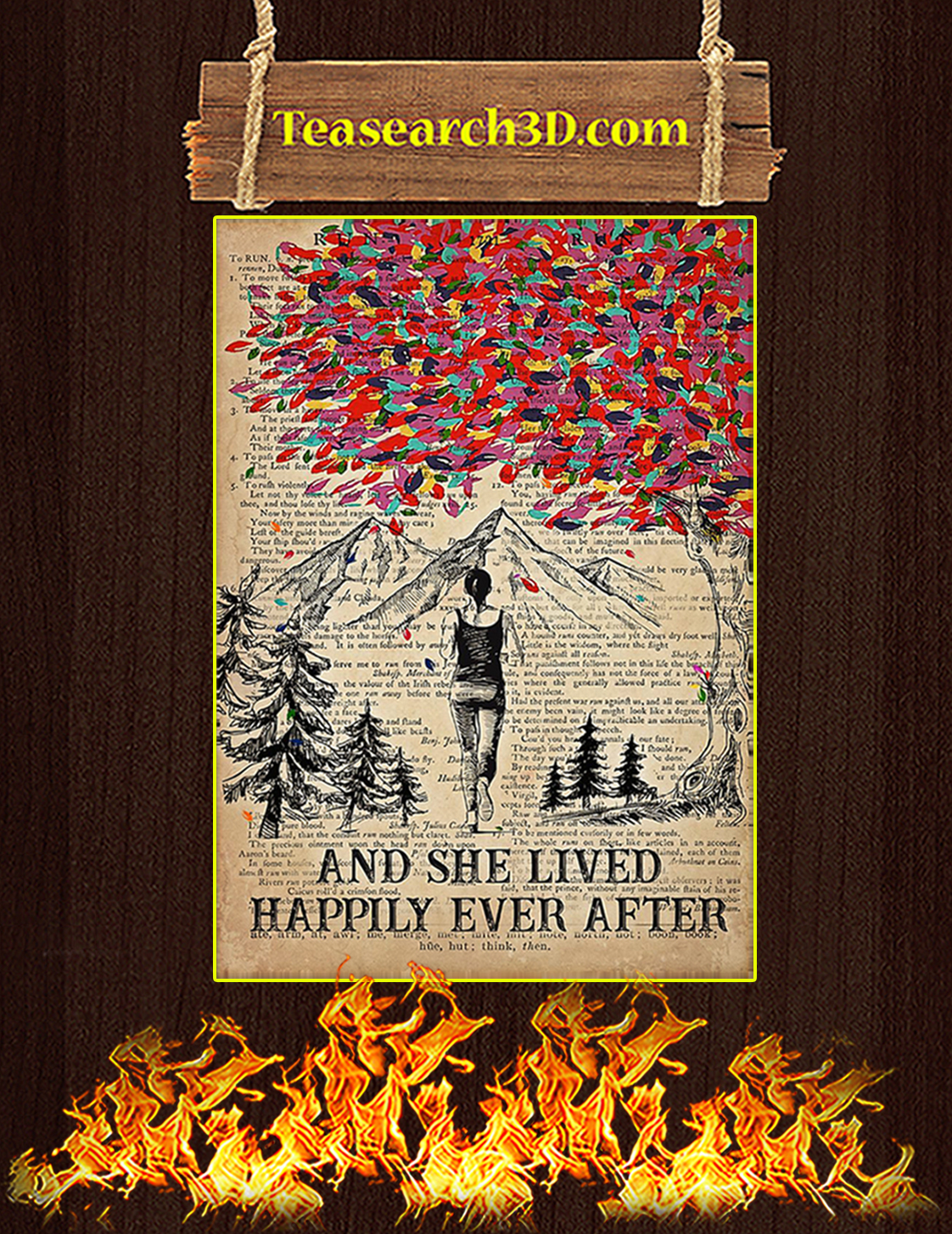 Running And she lived happily ever after poster A3