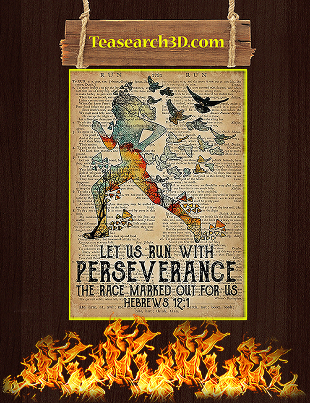 Running let us run with perseverance poster A2