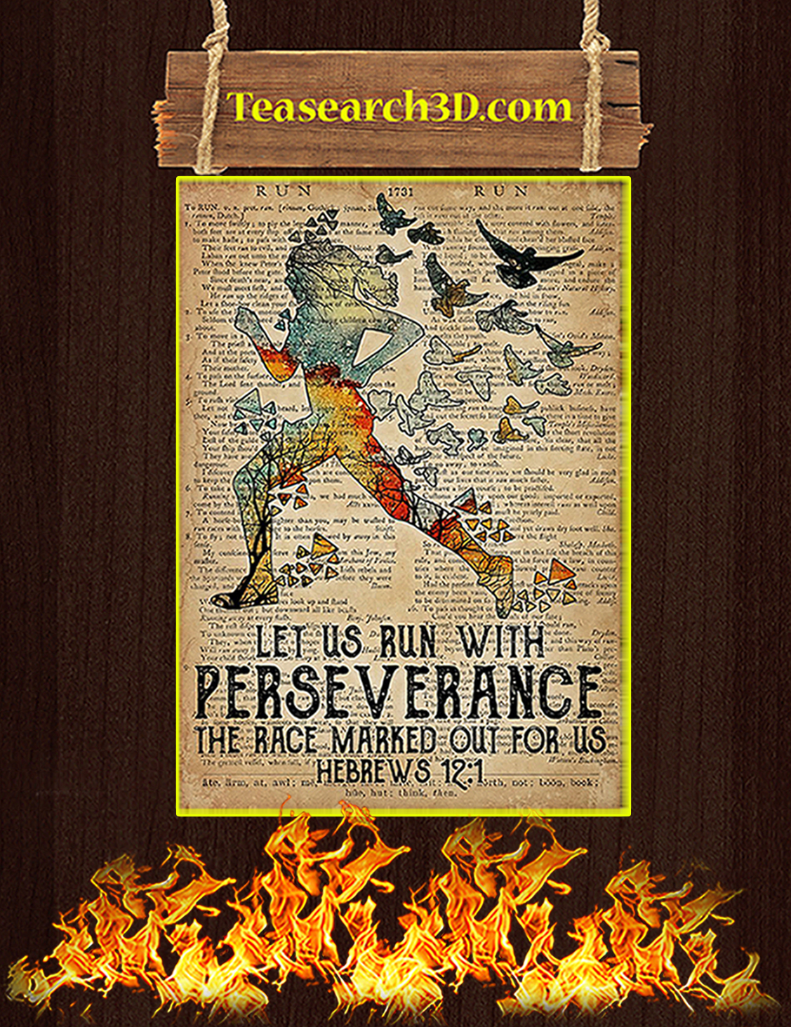 Running let us run with perseverance poster A3