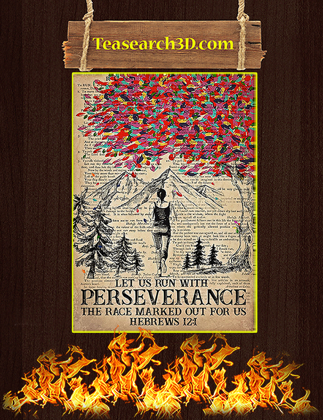 Running let us run with perseverance the race marked out for us poster A2