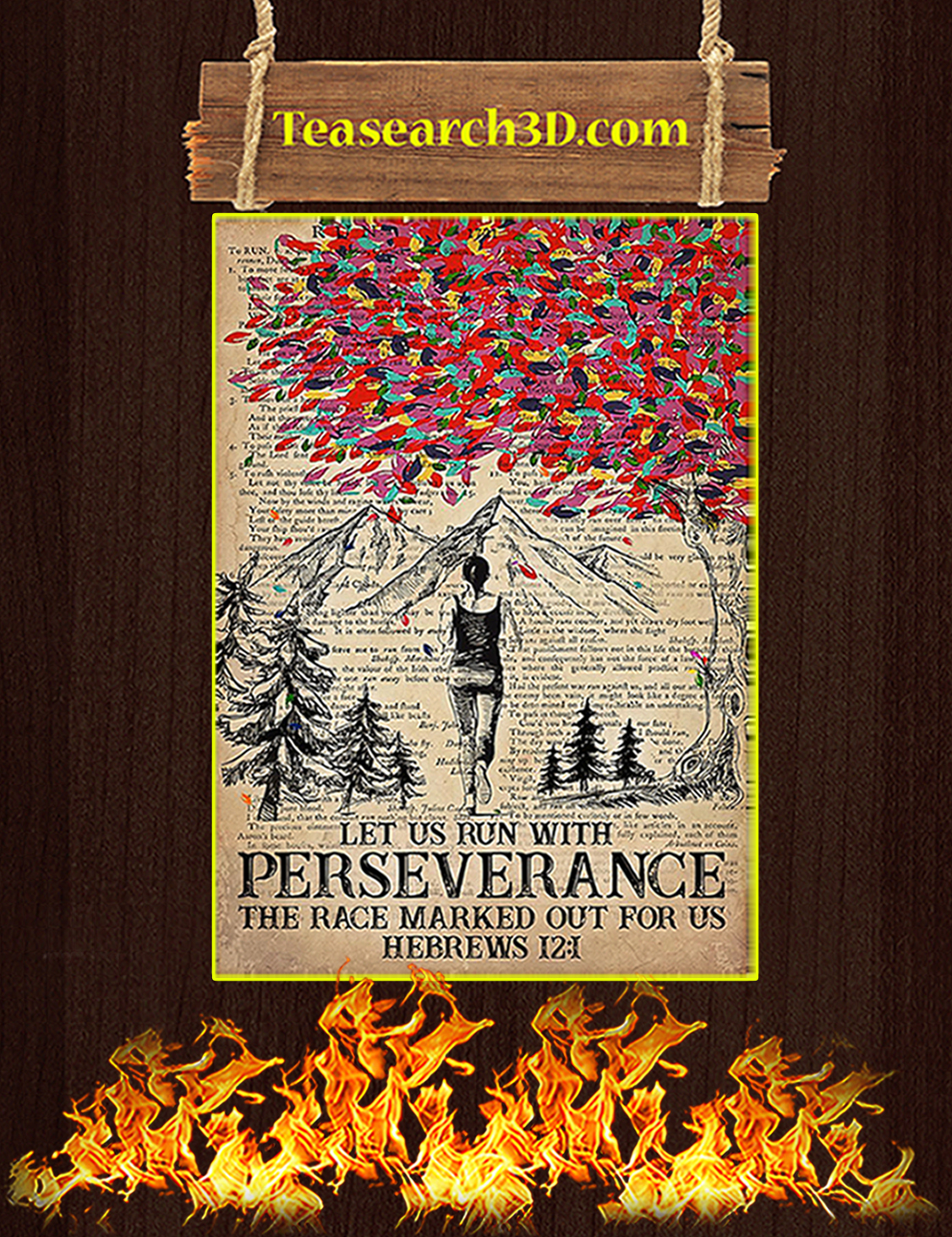 Running let us run with perseverance the race marked out for us poster A3