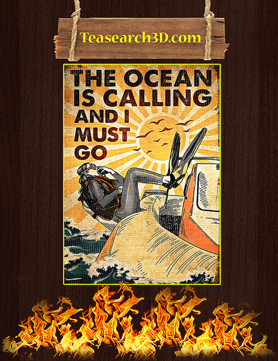 Scuba The ocean is calling and I must go poster A3