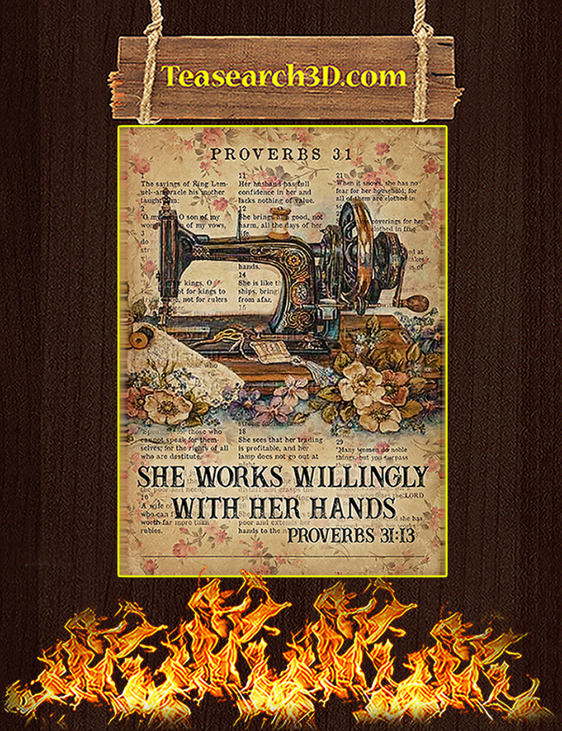 Sewing Proverbs 31 she works willingly with her hands poster A3