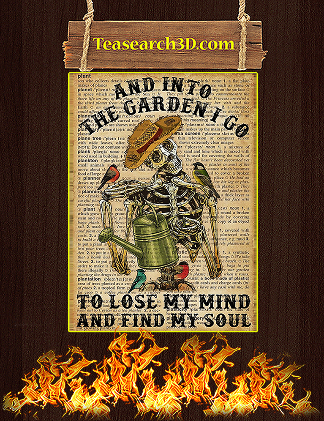 Skeleton And into the garden I go poster A3