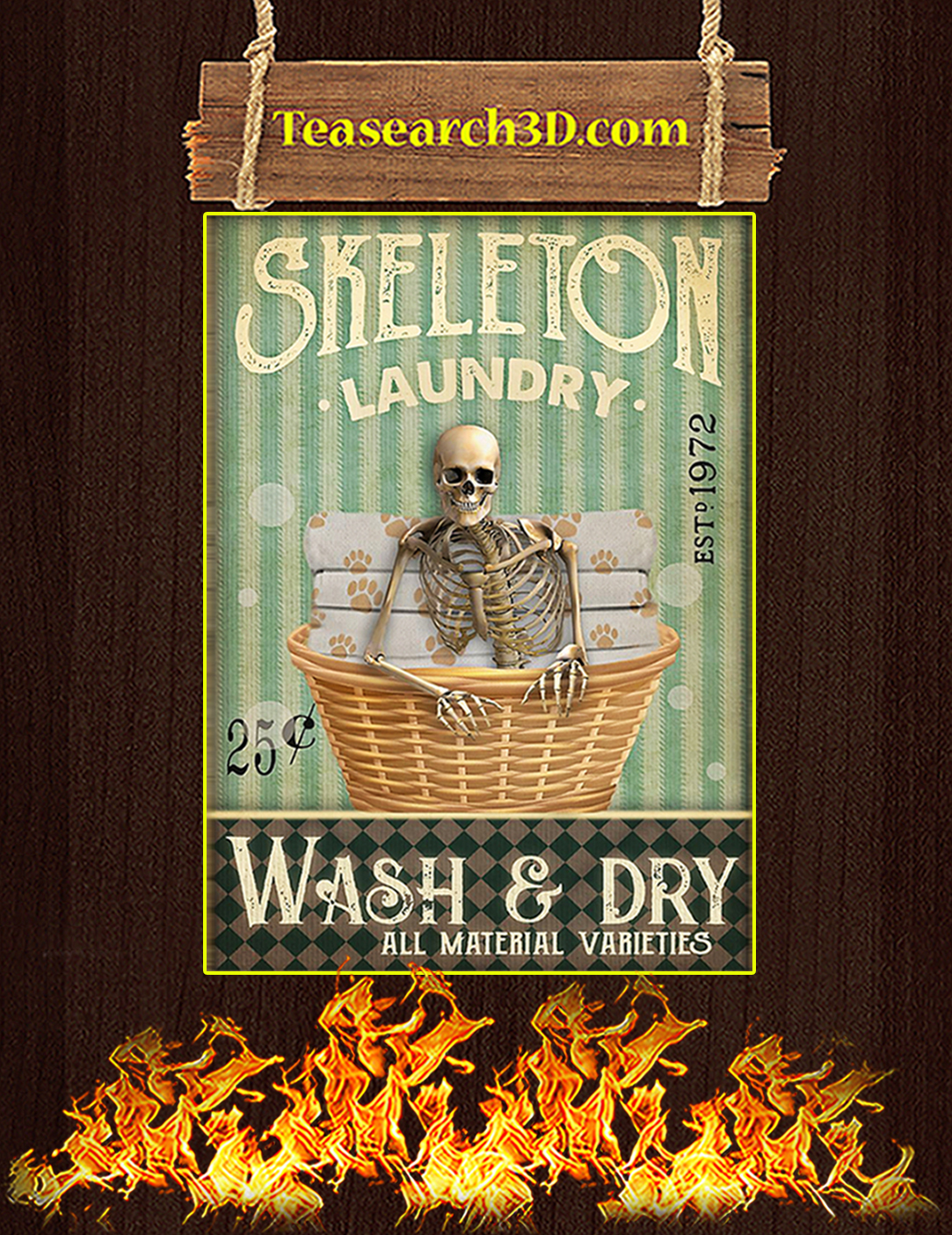Skeleton laundry wash and dry poster A2