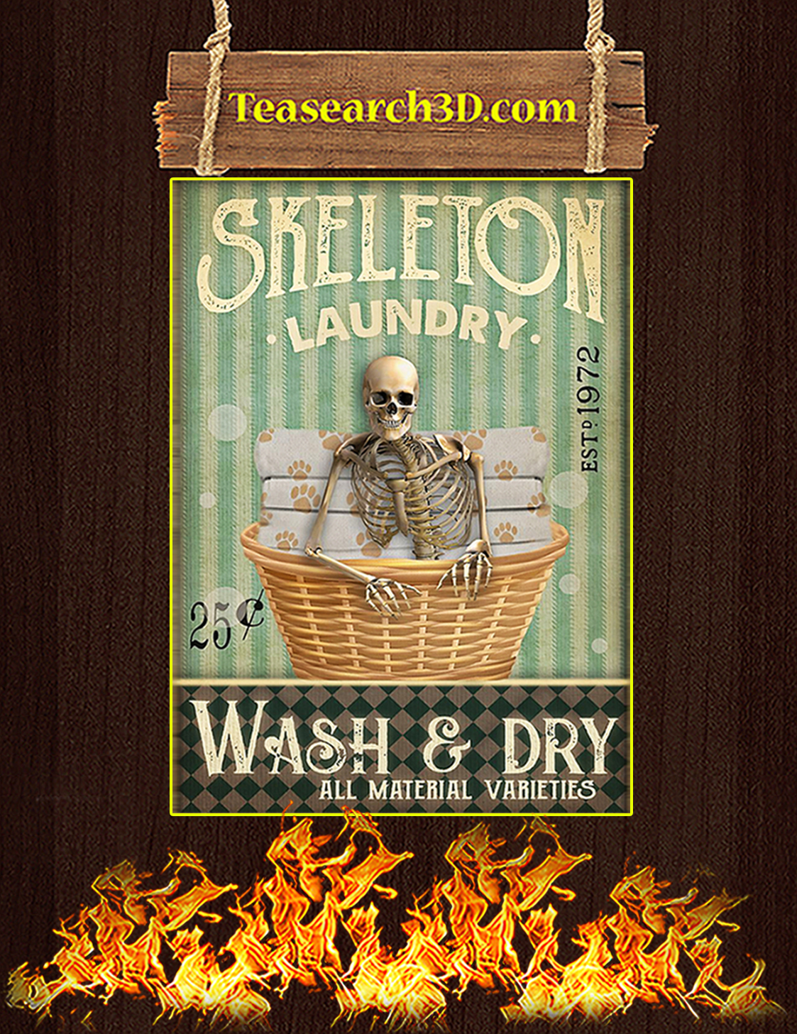 Skeleton laundry wash and dry poster A3