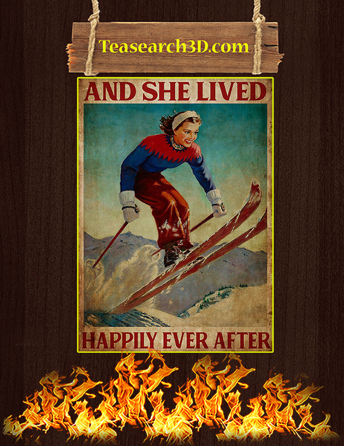 Skiing and she lived happily ever after poster A3