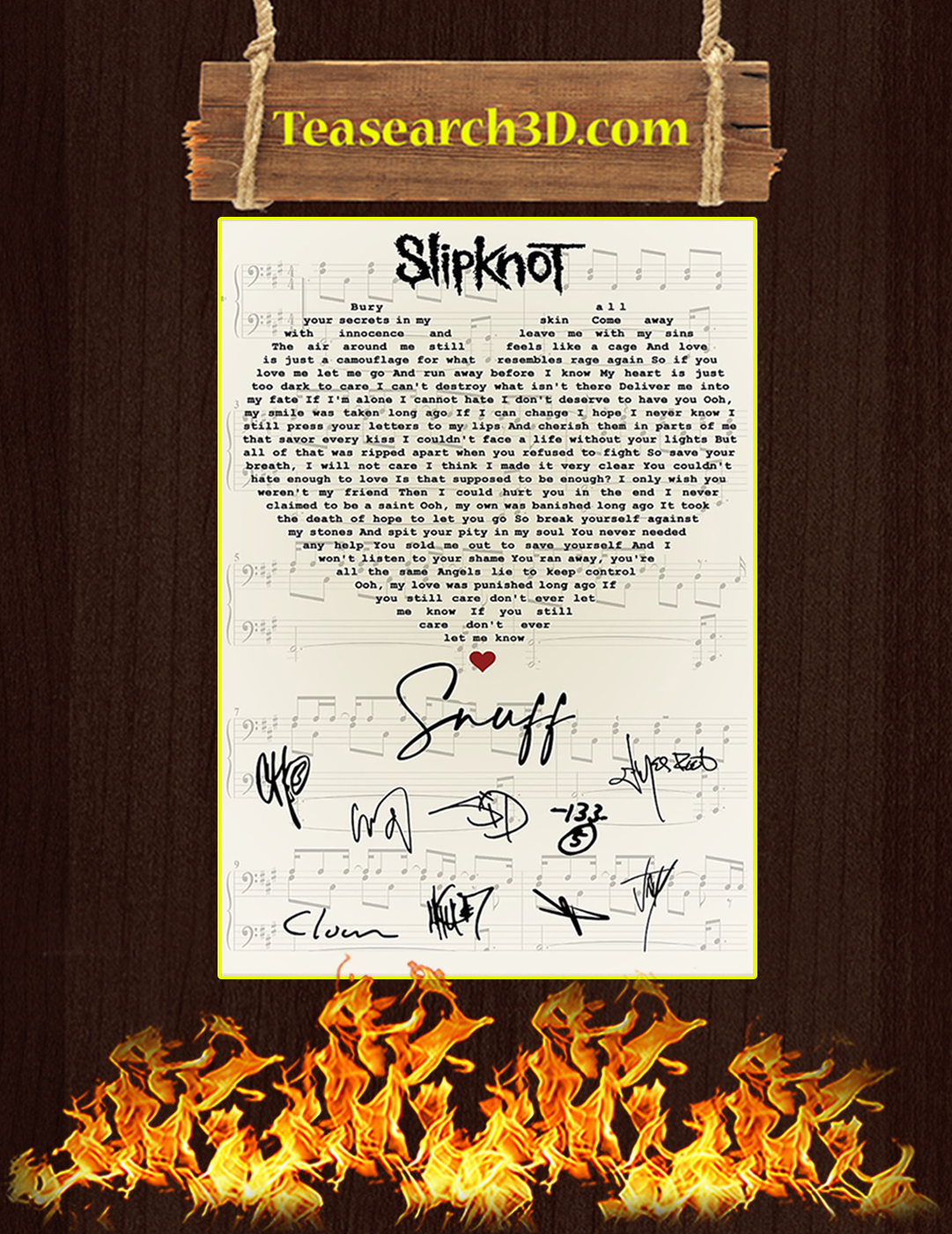 Slipknot Snuff signatures poster A2