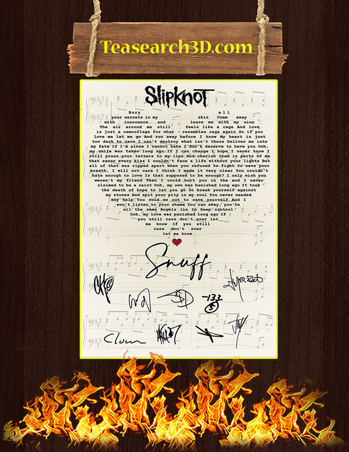 Slipknot Snuff signatures poster A3