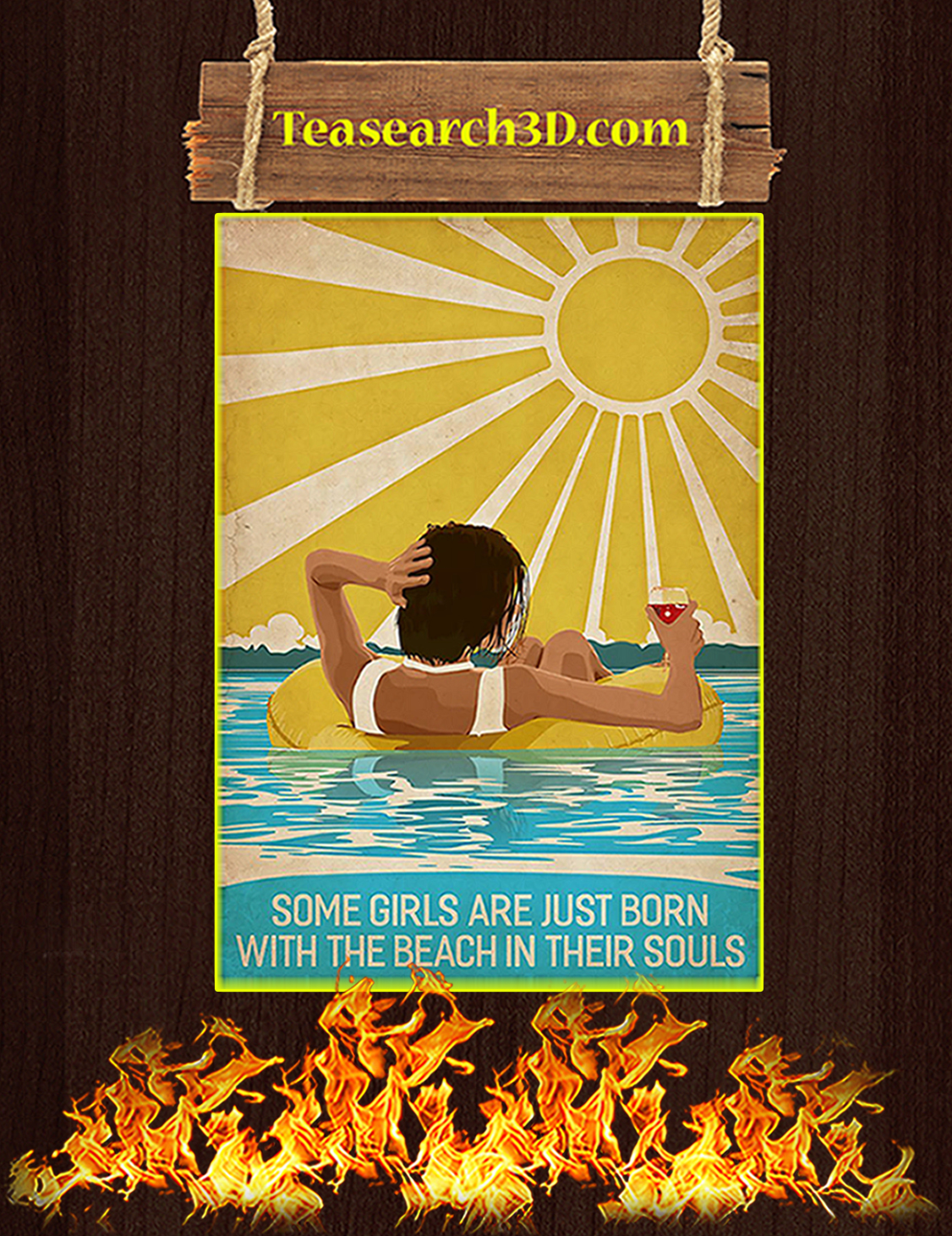 Some girls are just born with the beach in their souls poster A3
