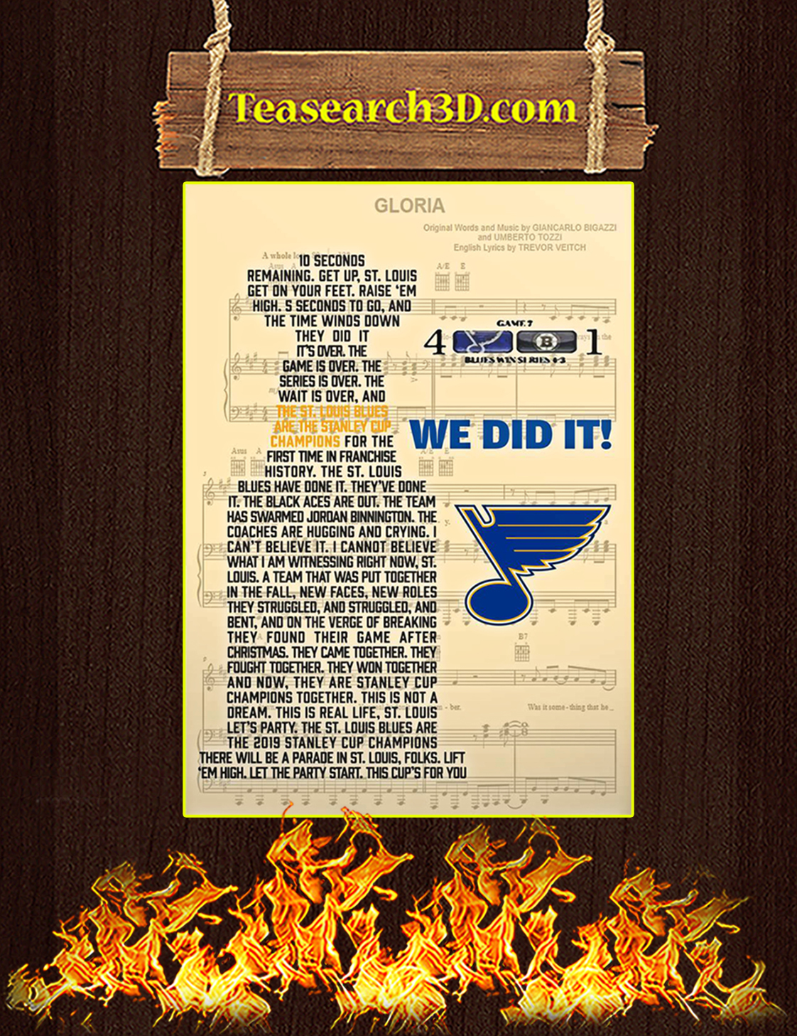 St Louis Blues we did it poster A3