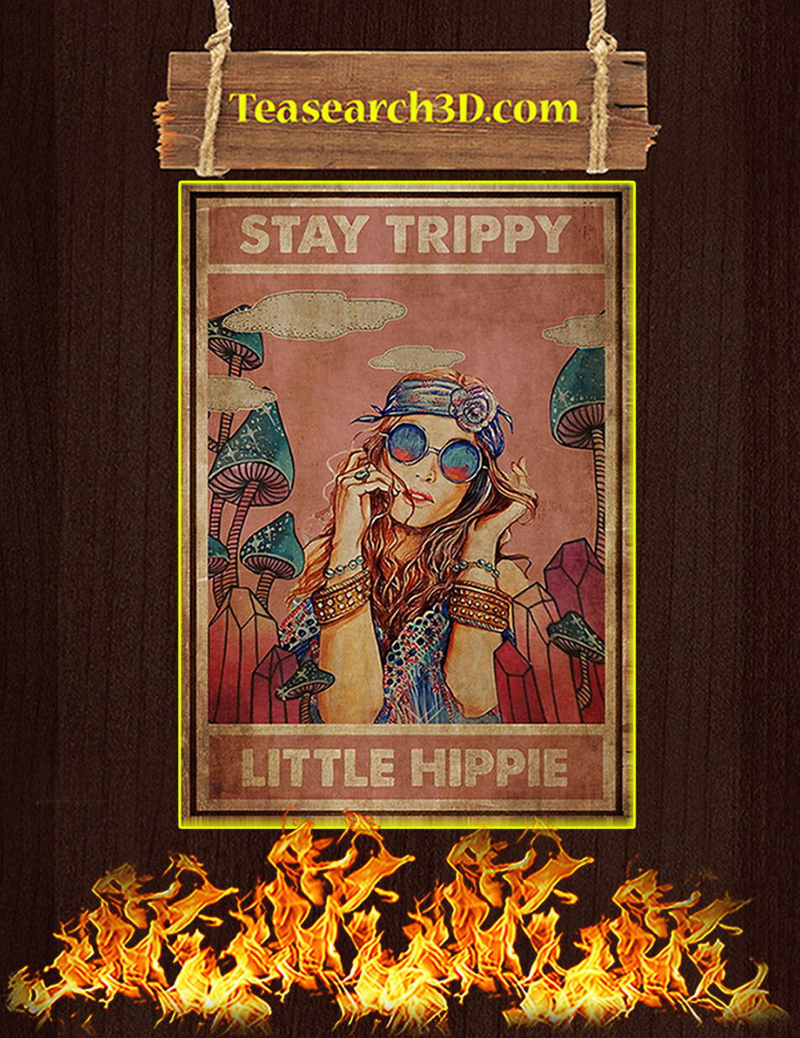 Stay trippy little hippie poster A3
