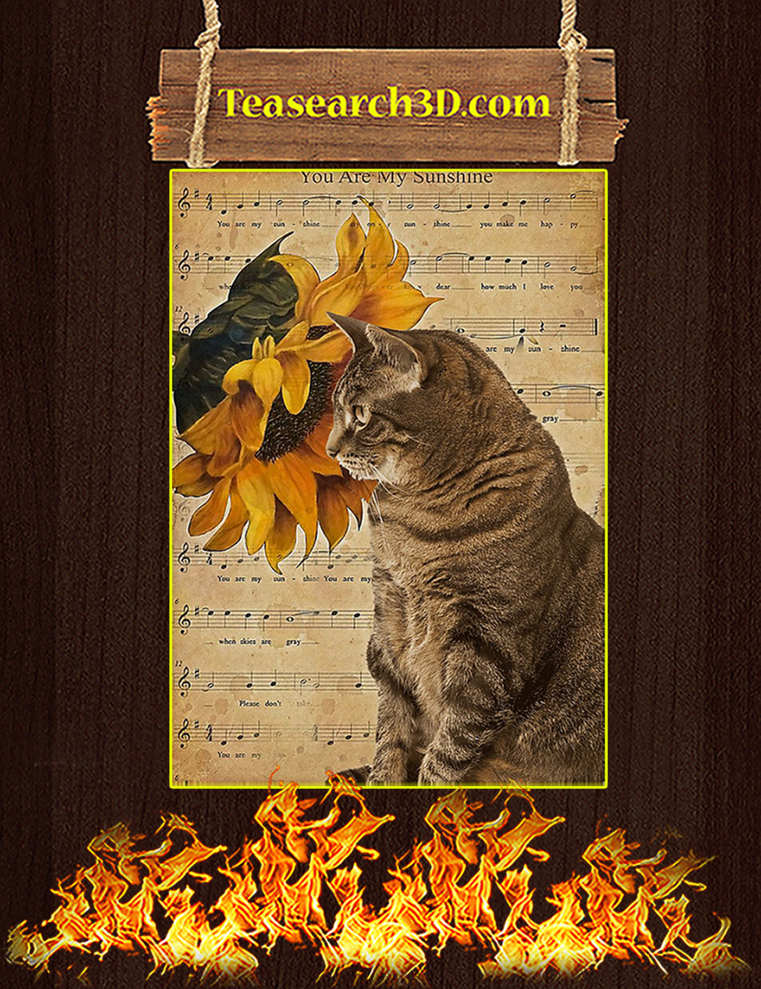 Sunflower cat you are my sunshine poster A2
