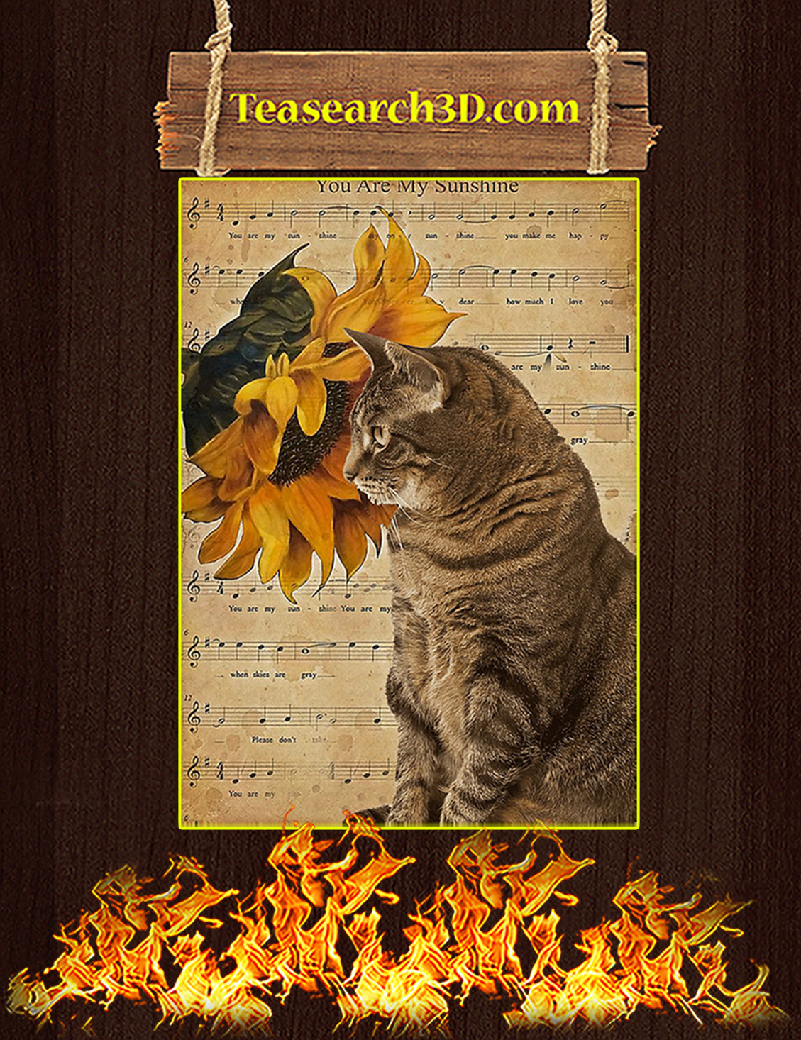 Sunflower cat you are my sunshine poster A3