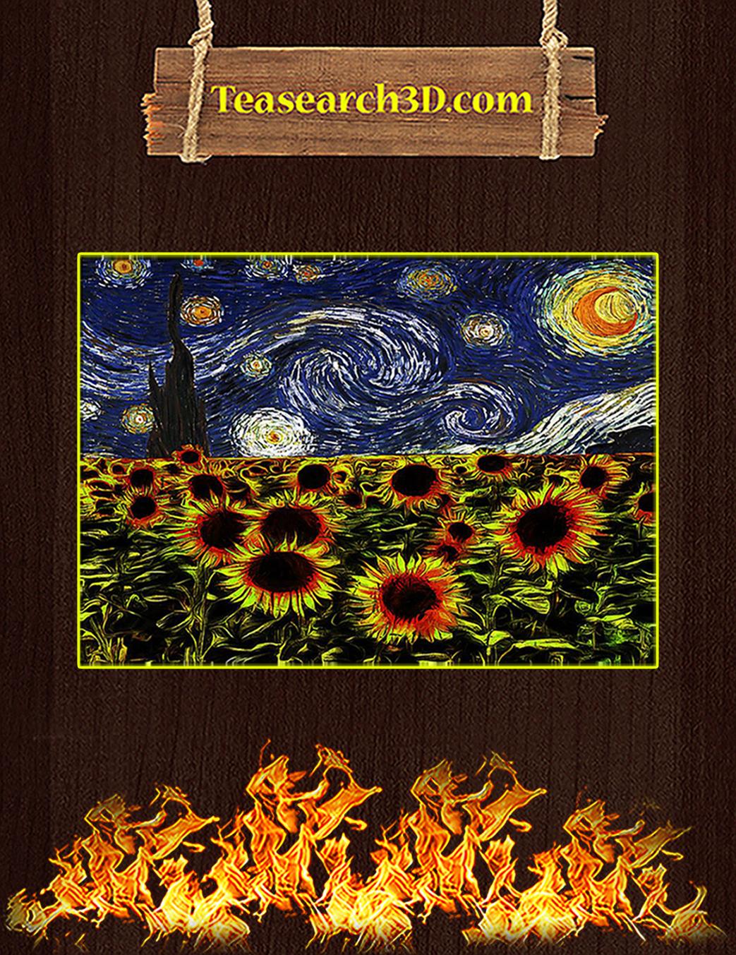 Sunflowers starry night van gogh poster A1