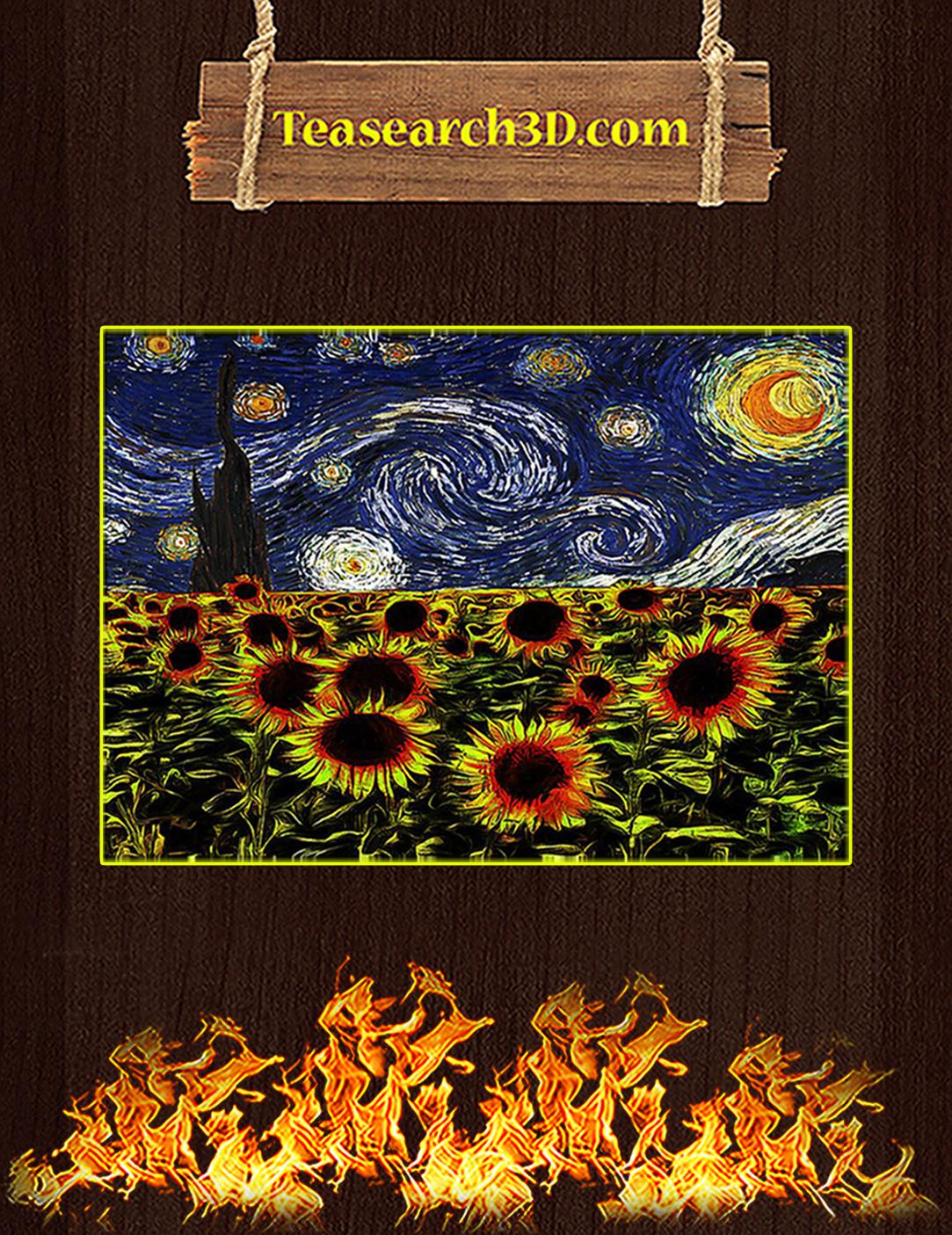 Sunflowers starry night van gogh poster A2