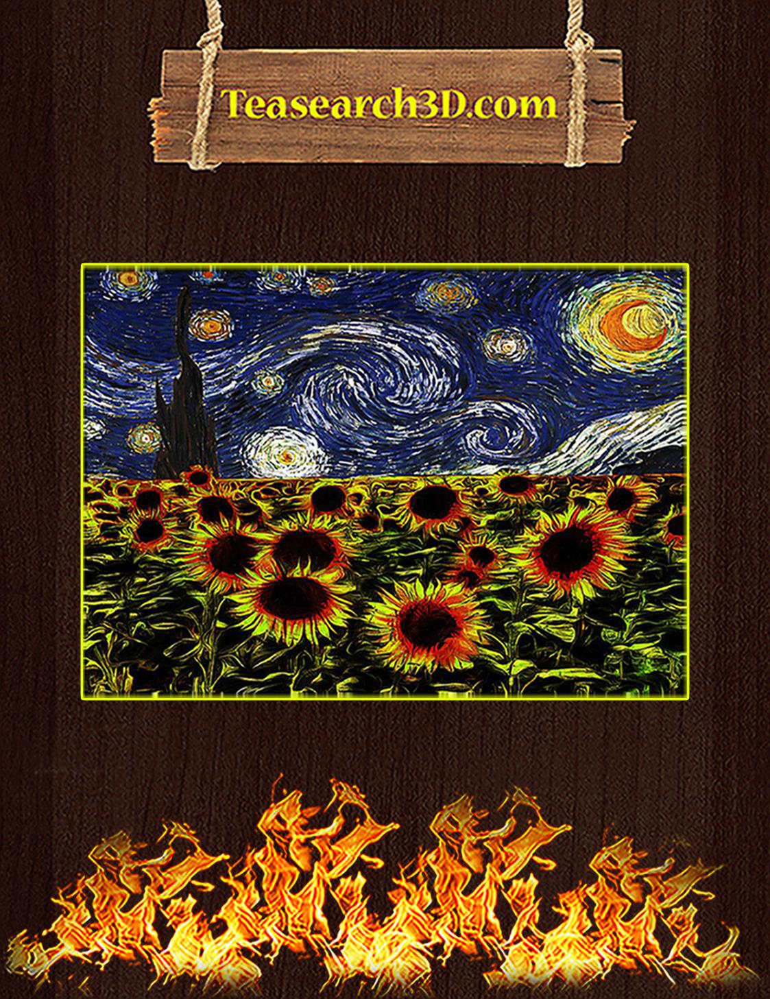 Sunflowers starry night van gogh poster A3