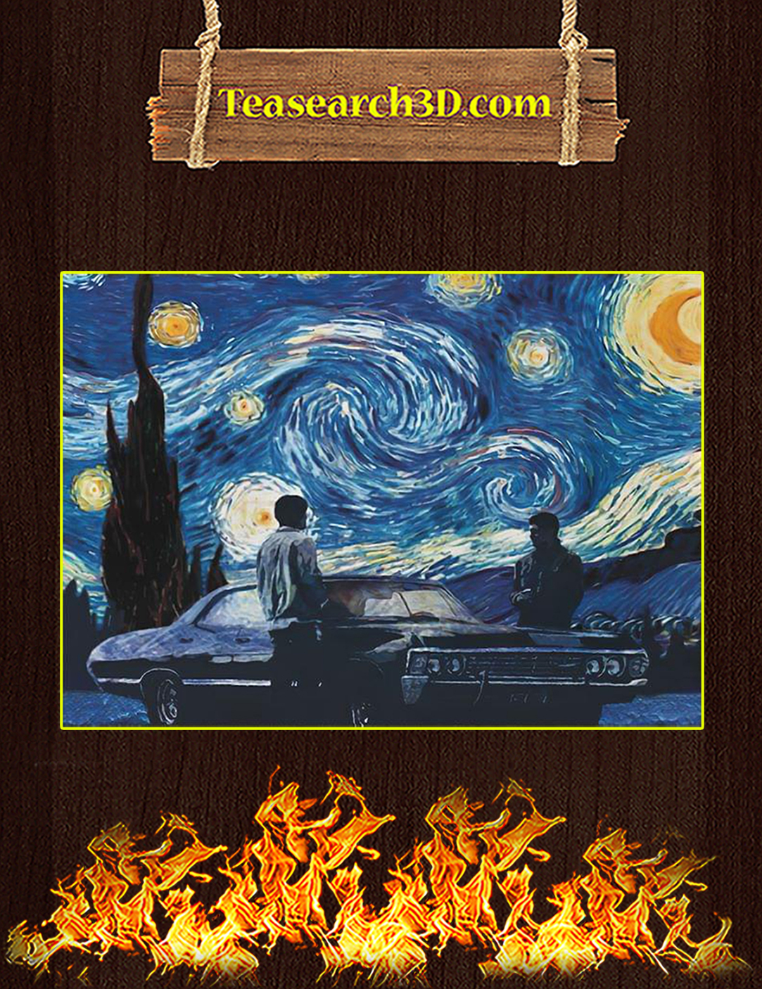 Supernatural starry night van gogh poster A2
