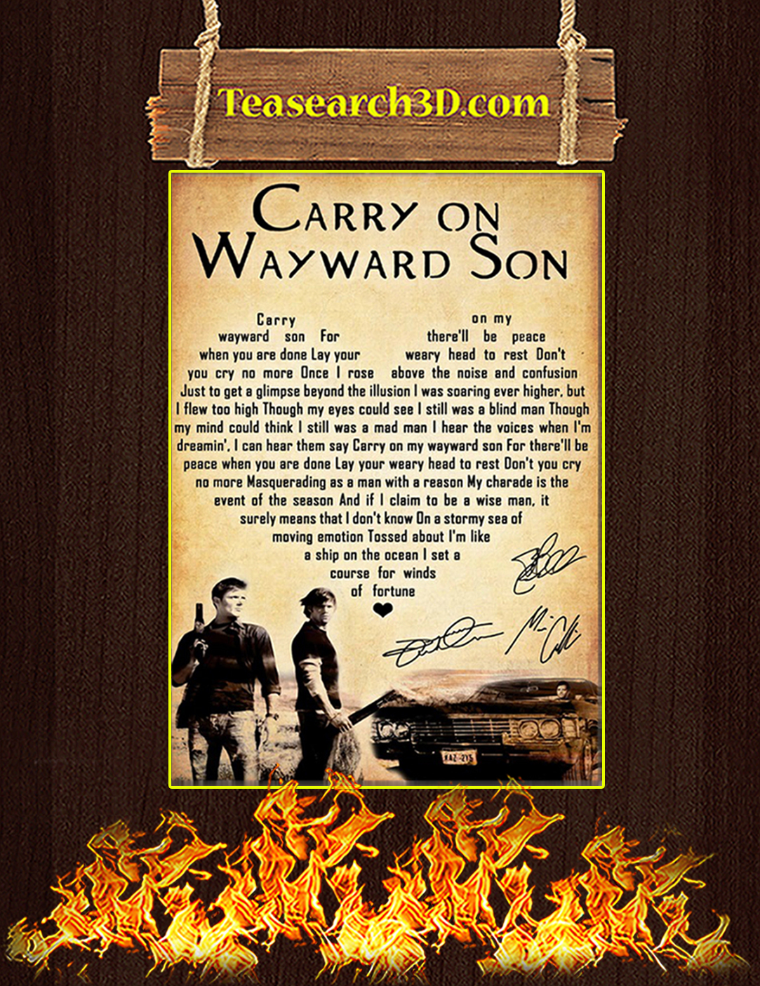 Supernatural carry on my wayward son signature poster A2