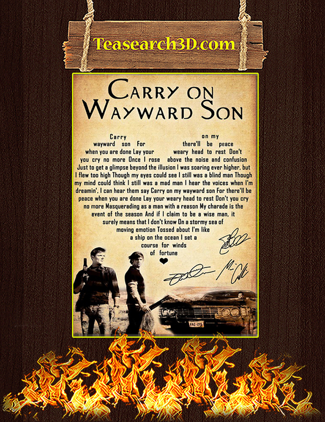 Supernatural carry on my wayward son signature poster A3