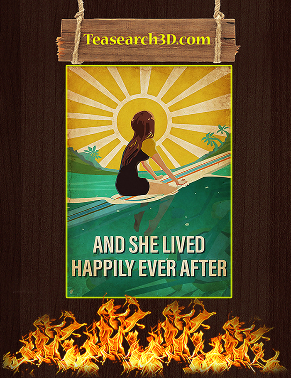 Surfing And she lived happily ever after poster A3