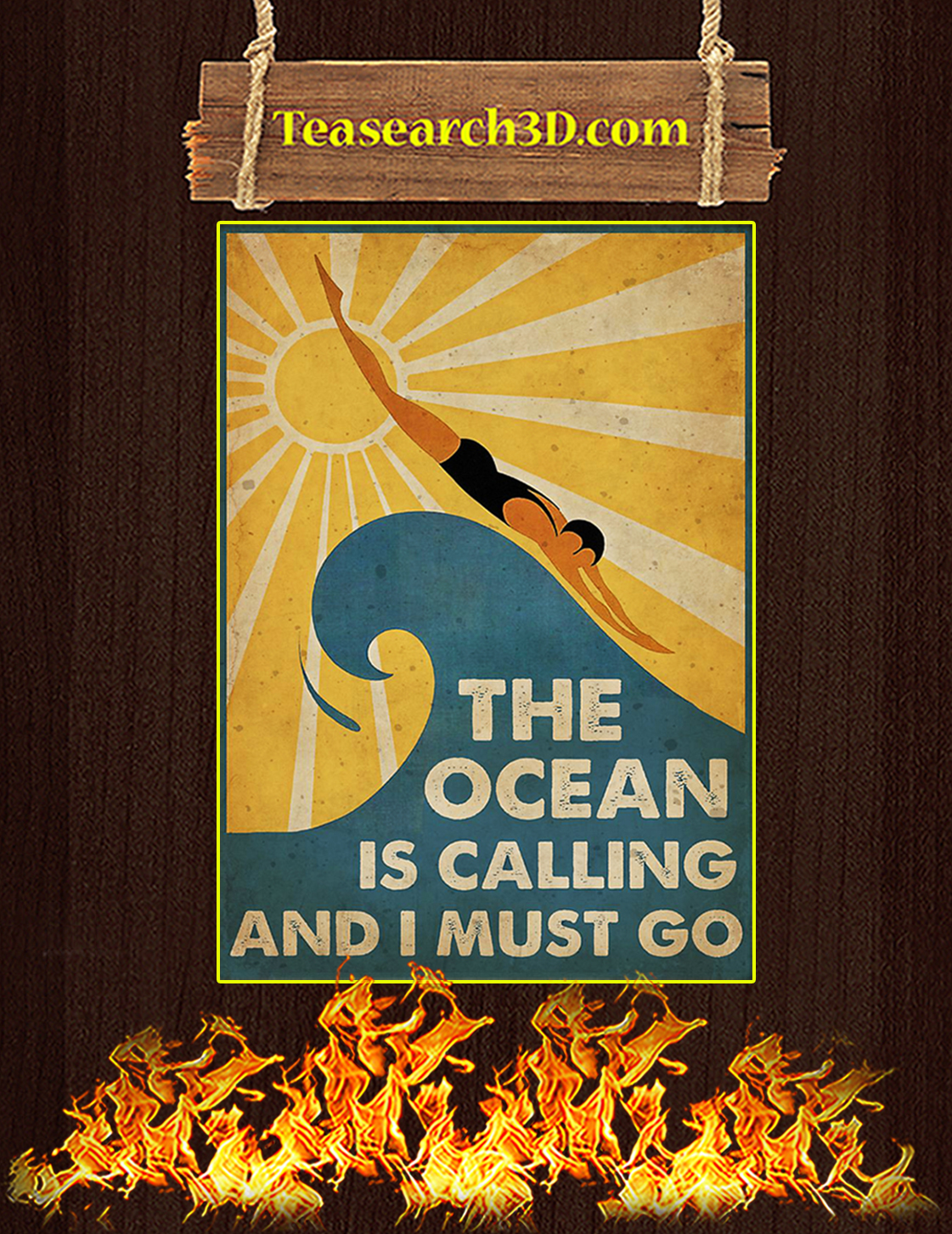 Swimming The ocean is calling and I must go poster A3