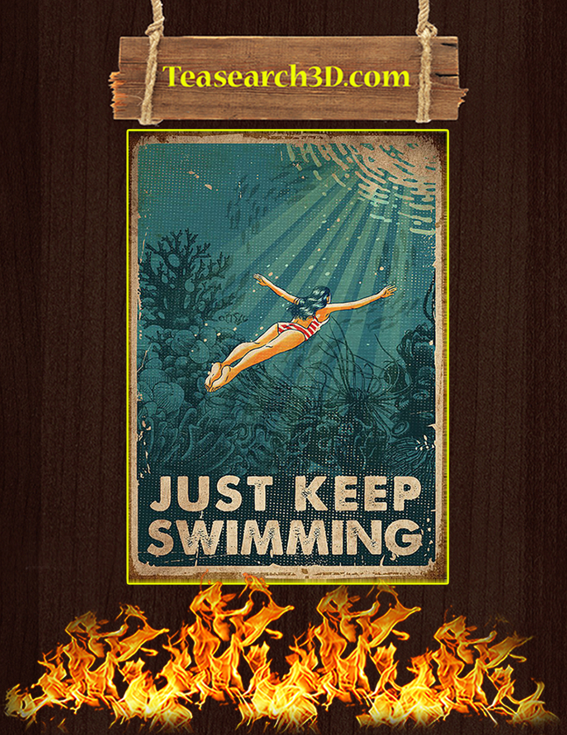 Swimming just keep swimming poster A3