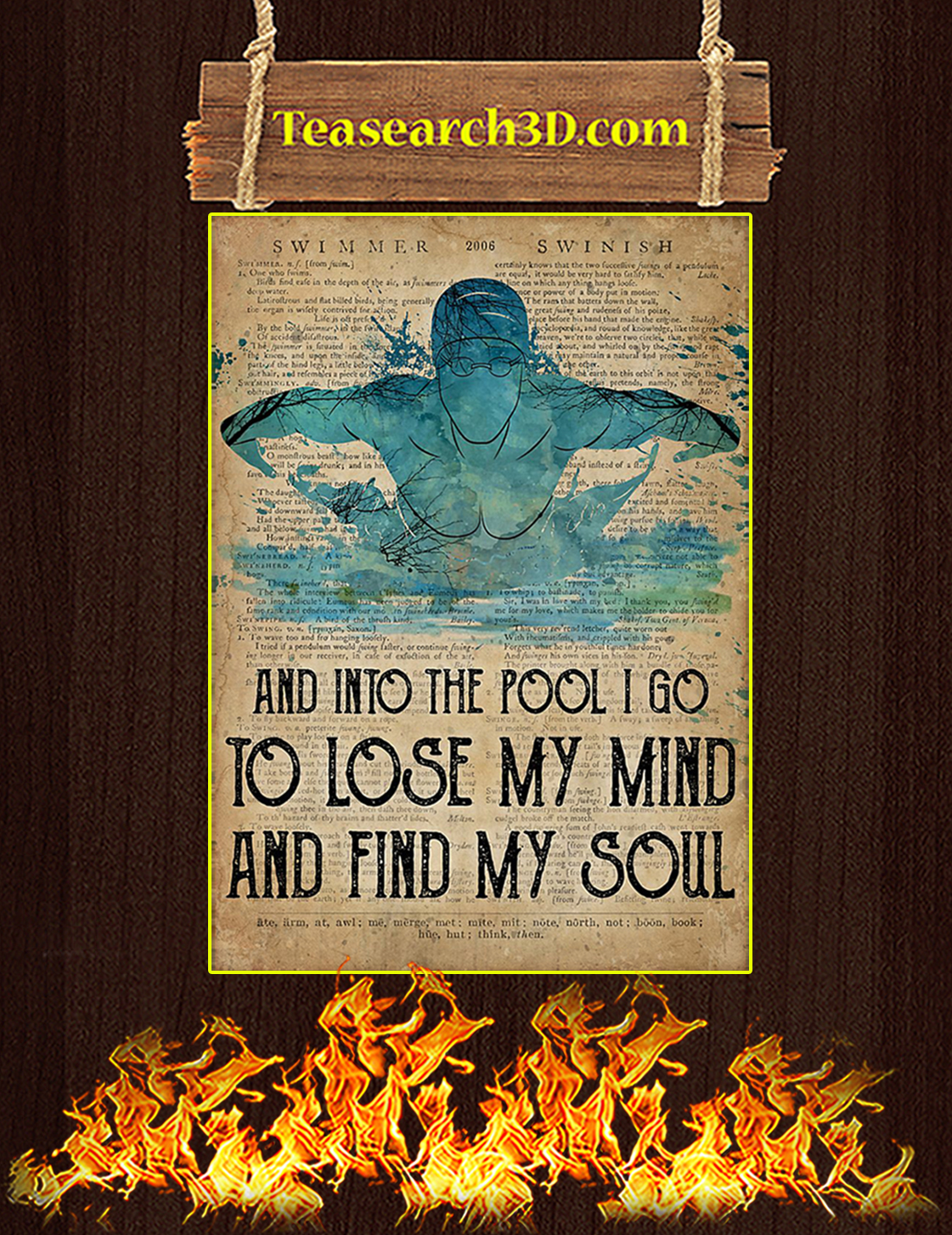 Swimming to loose my mind and find my soul poster A3