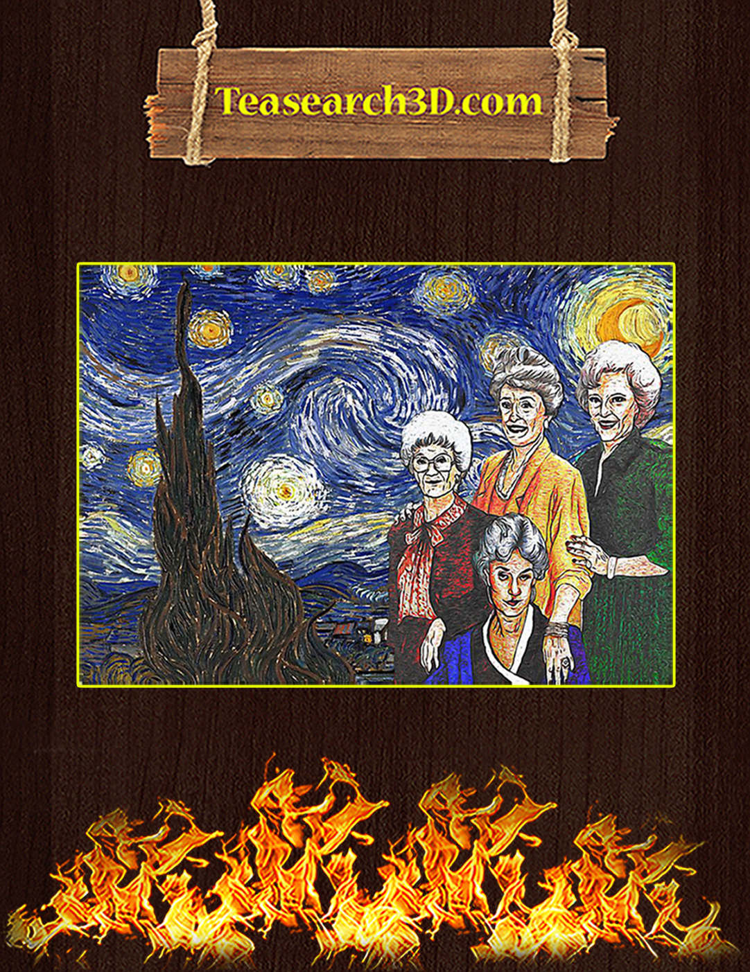 The golden girls starry night poster A2